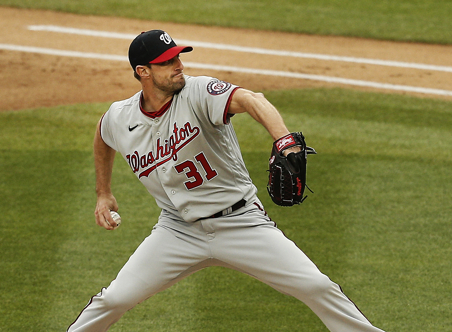May 8, 2021; Bronx, New York, USA; Washington Nationals starting pitcher Max Scherzer (31) pitches against the New York Yankees during the first inning at Yankee Stadium. Mandatory Credit: Andy Marlin-USA TODAY Sports
