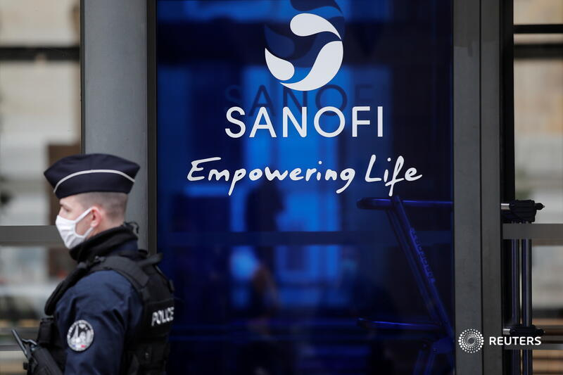 A French policeman stands in front of the Sanofi headquarters in Paris, France, February 4, 2021.  REUTERS/Benoit Tessier