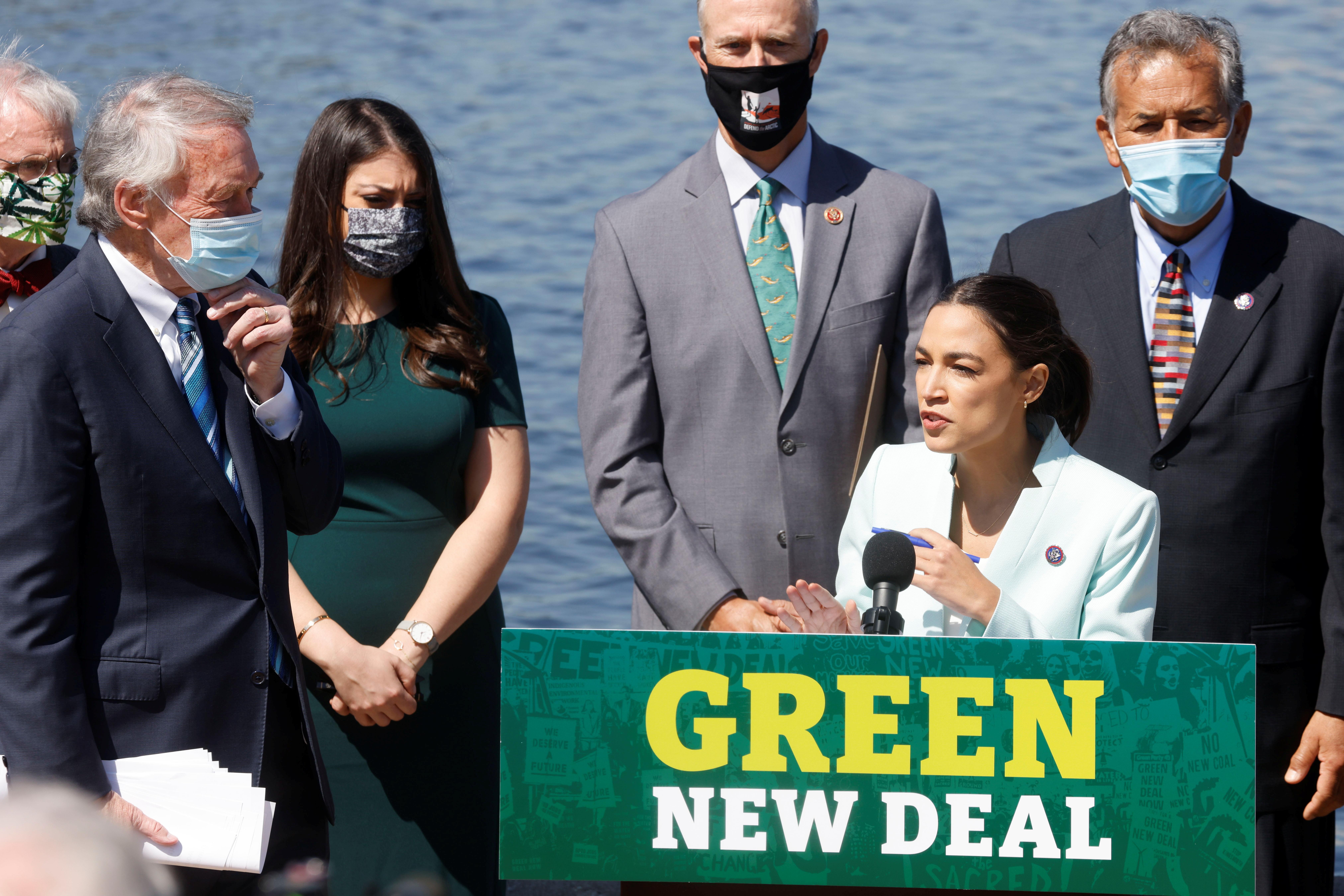 U.S. Rep. Alexandria Ocasio-Cortez speaks as she and fellow Democraic lawmakers relaunch their