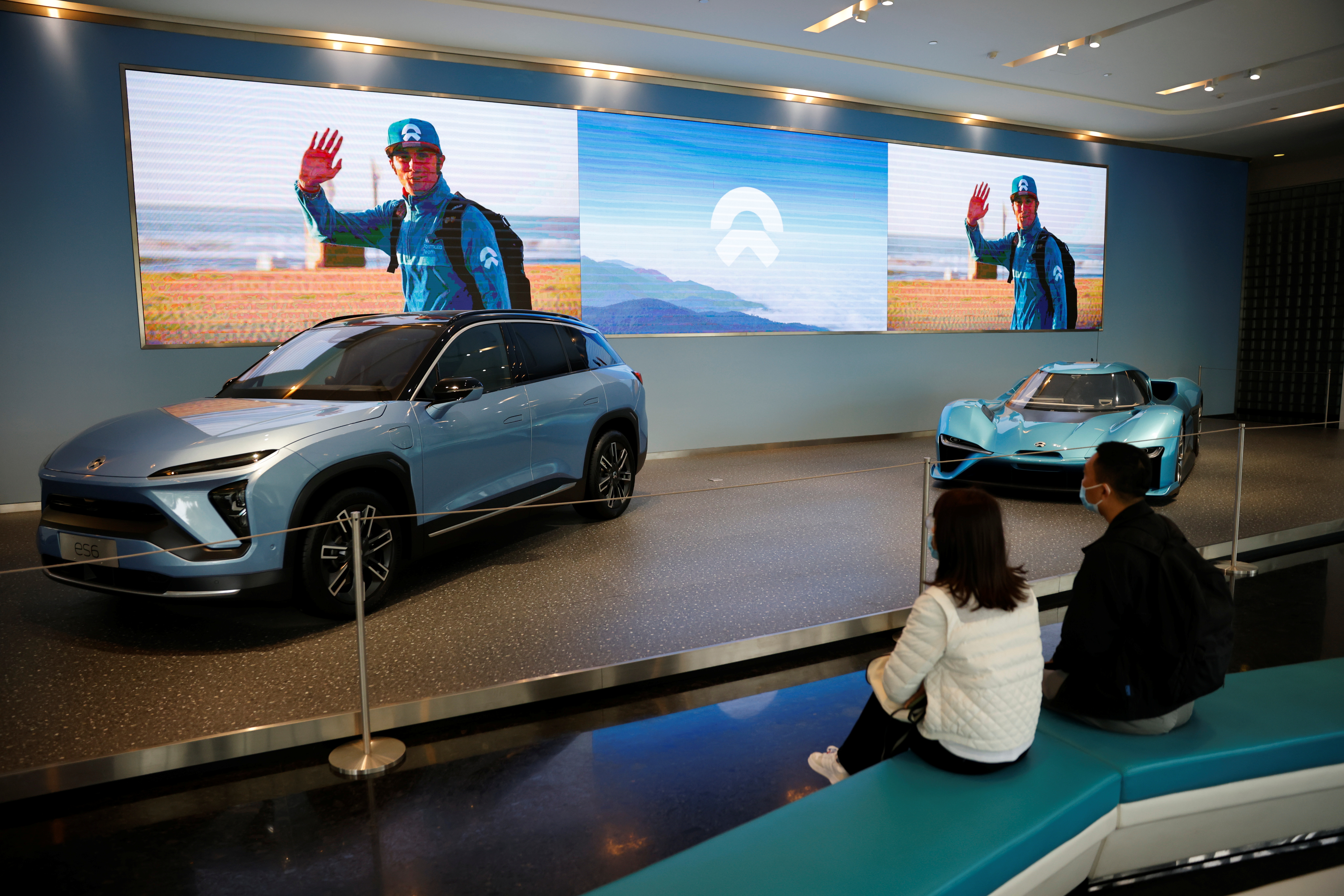 Nio electric cars are displayed at a Nio office in Shanghai, China, March 24, 2021.   REUTERS/Aly Song