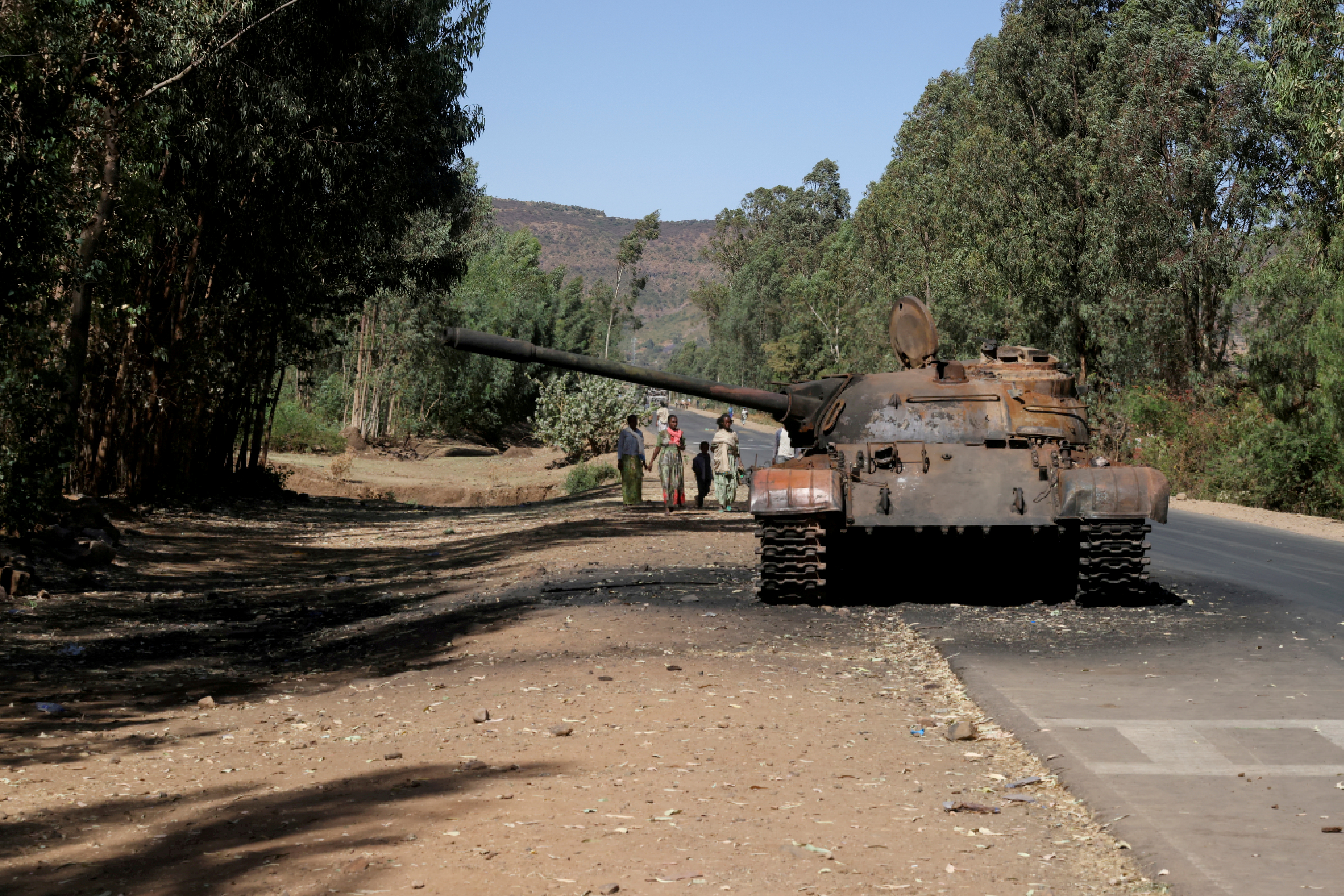 A burned tank stands near the town of Adwa, Tigray region, Ethiopia, March 18, 2021. REUTERS/Baz Ratner/File Photo