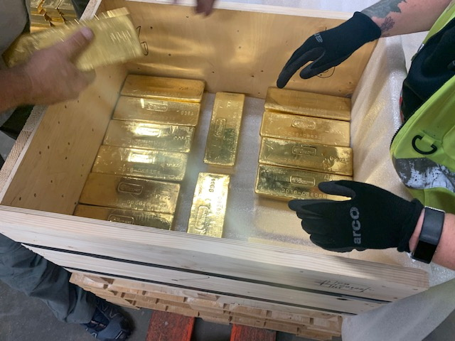 An undated handout picture shows gold bars before their dispatch to Poland's central bank, in London, Britain. G4S via REUTERS