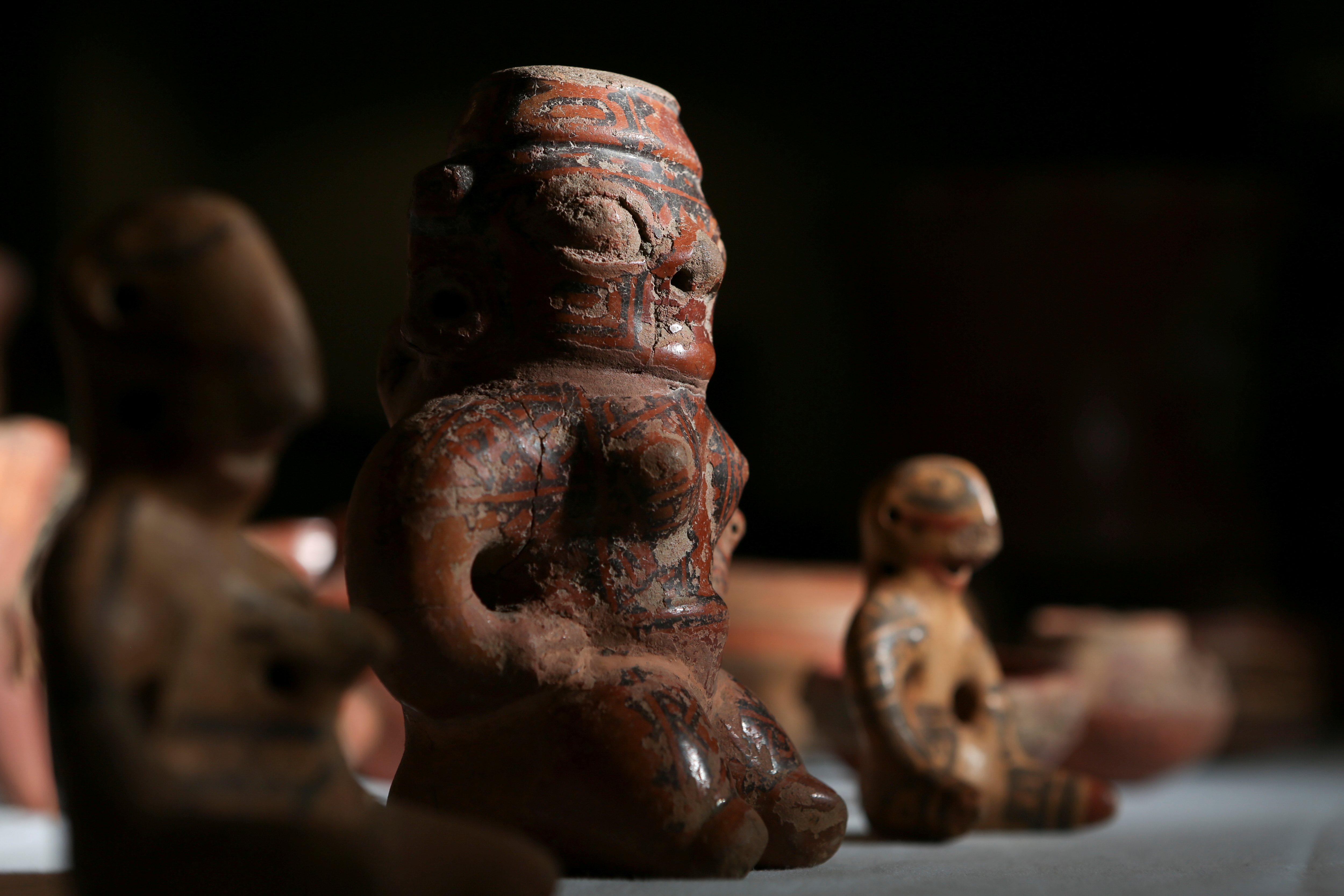 Pre-Columbian statues, repatriated from the Brooklyn Museum in New York, U.S., are displayed for its classification by archaeologists at the facilities of the Costa Rica's National Museum, in Pavas, Costa Rica July 2, 2021. Picture taken  July 2, 2021. REUTERS/Mayela Lopez