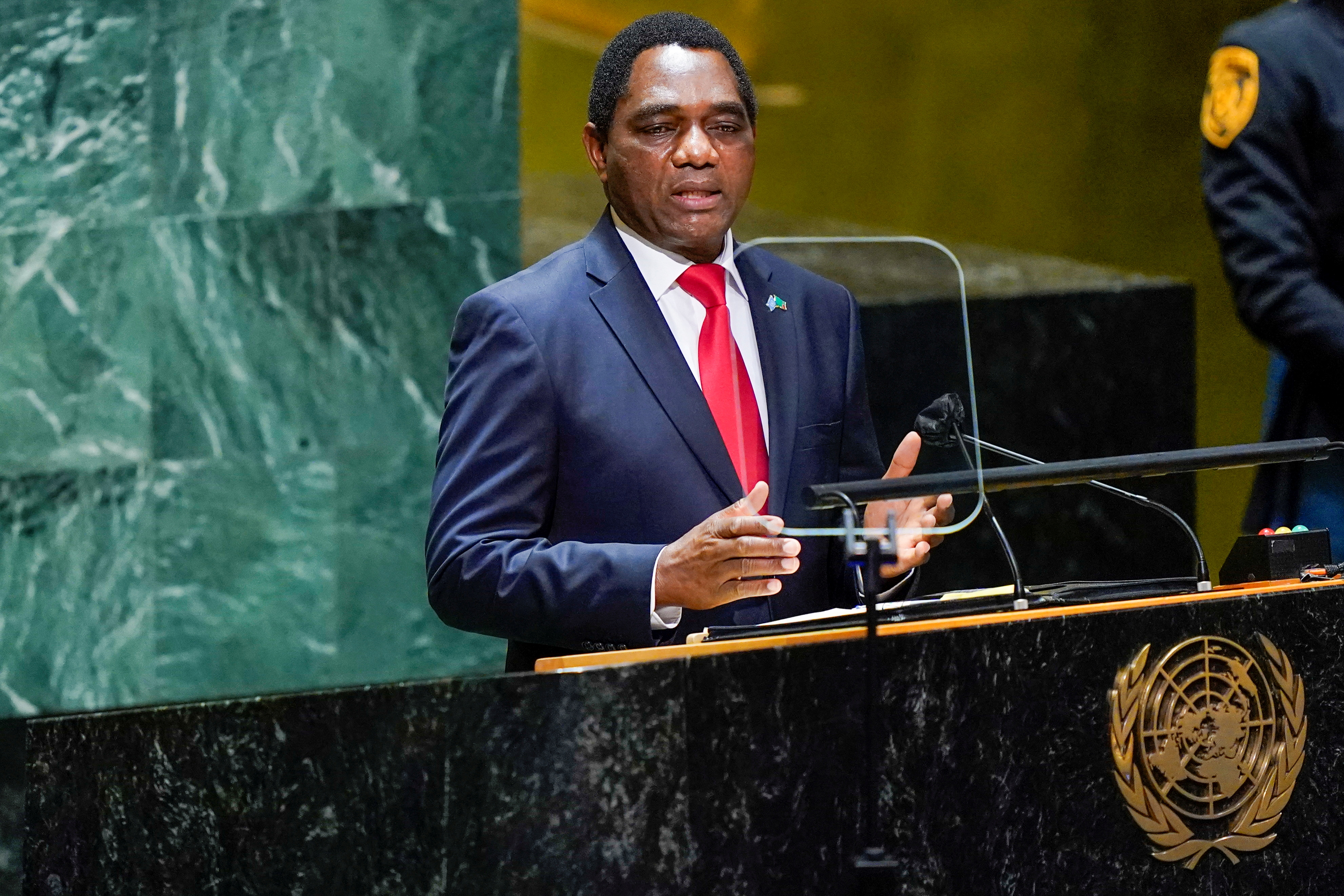 Zambia's President Hakainde Hichilema addresses the 76th Session of the United Nations General Assembly at U.N. headquarters in New York, U.S. on September 21, 2021.  Mary Altaffer/Pool via REUTERS/File Photo