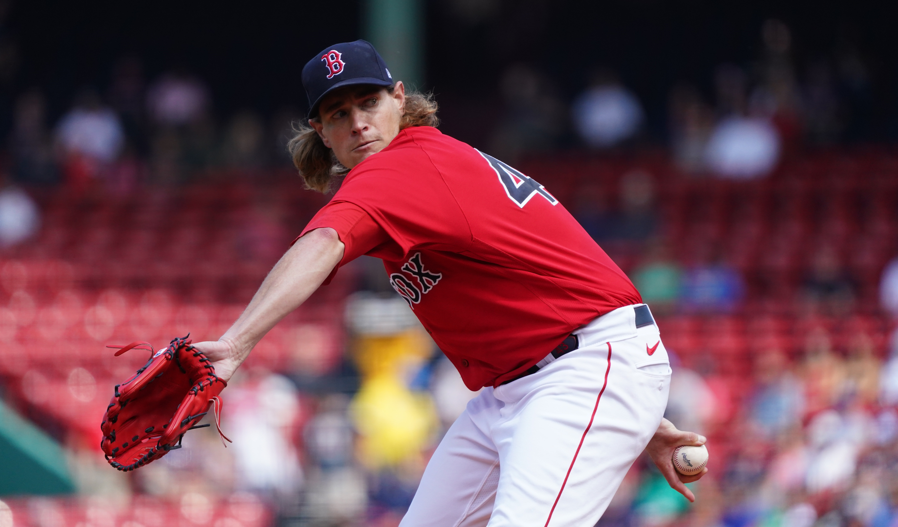Jul 28, 2021; Boston, Massachusetts, USA; Boston Red Sox starting pitcher Garrett Richards (43) throws a pitch against the Toronto Blue Jays in the first inning at Fenway Park. Mandatory Credit: David Butler II-USA TODAY Sports