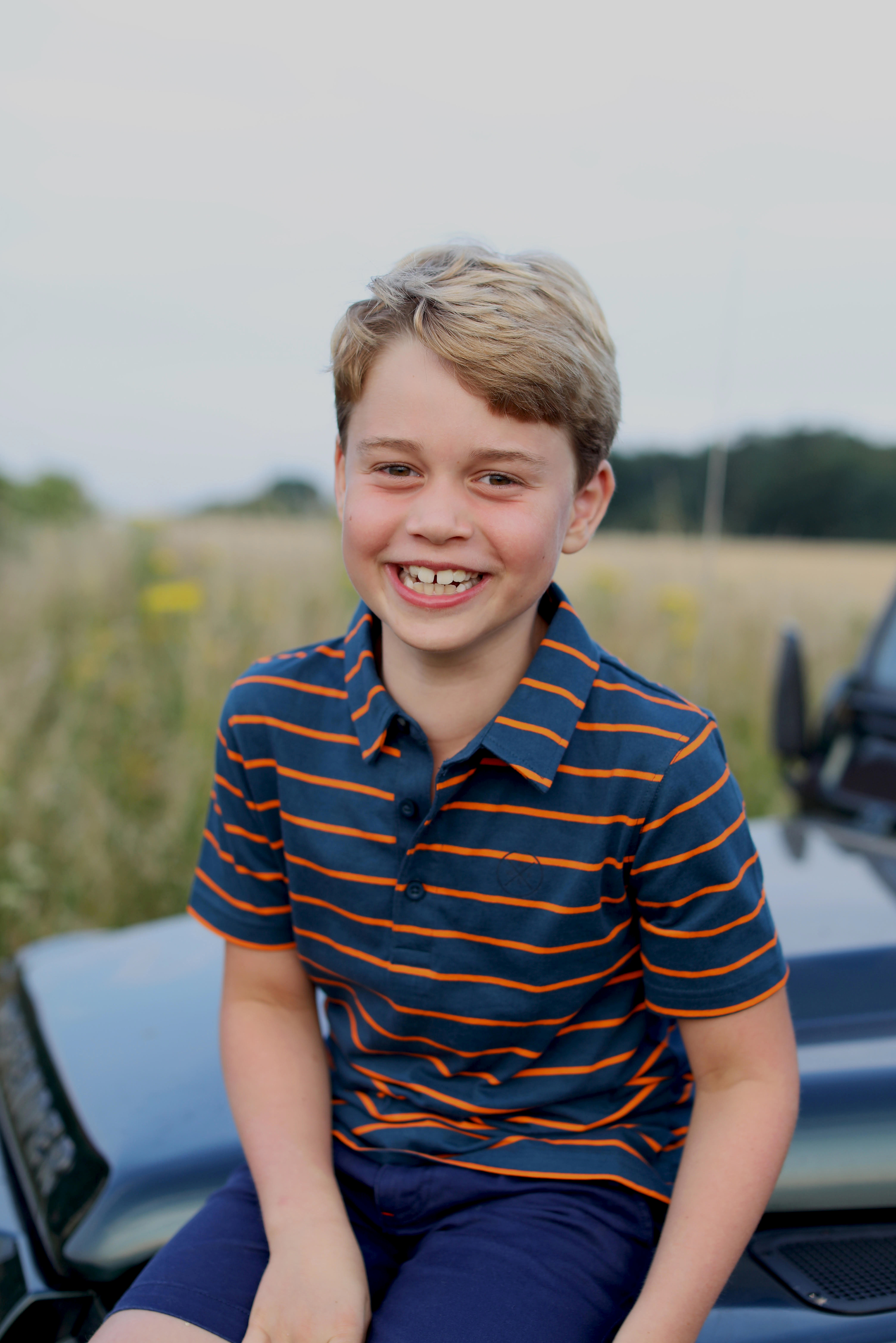 Britain's Prince George poses ahead of his eighth birthday in this picture taken by his mother, Catherine, the Duchess of Cambridge, in Norfolk, Britain July 2021. The Duchess of Cambridge/Handout via REUTERS