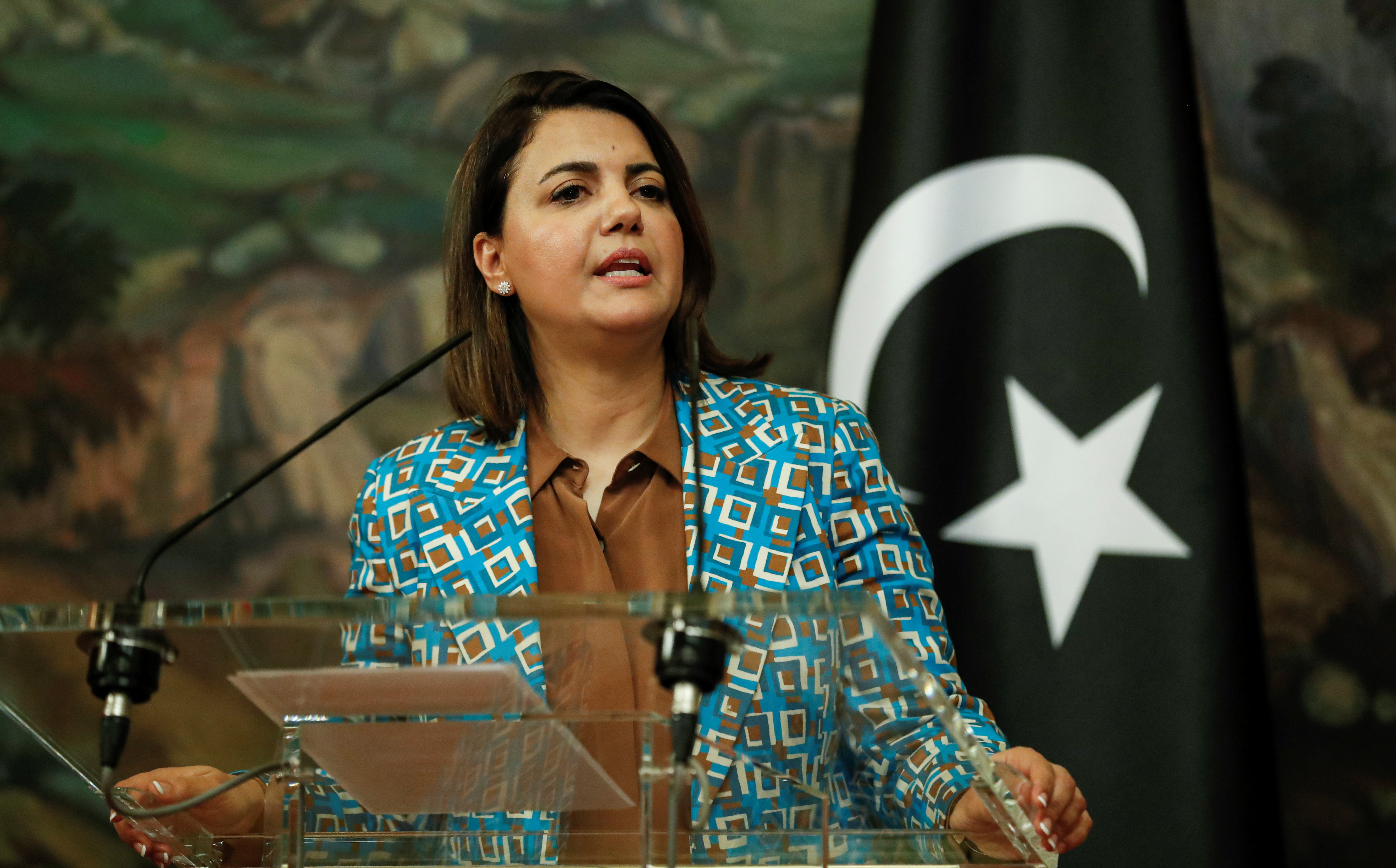 Libyan Foreign Minister Najla Mangoush attends a news conference following a meeting with Russian Foreign Minister Sergei Lavrov in Moscow, Russia August 19, 2021. Maxim Shipenkov/Pool via REUTERS