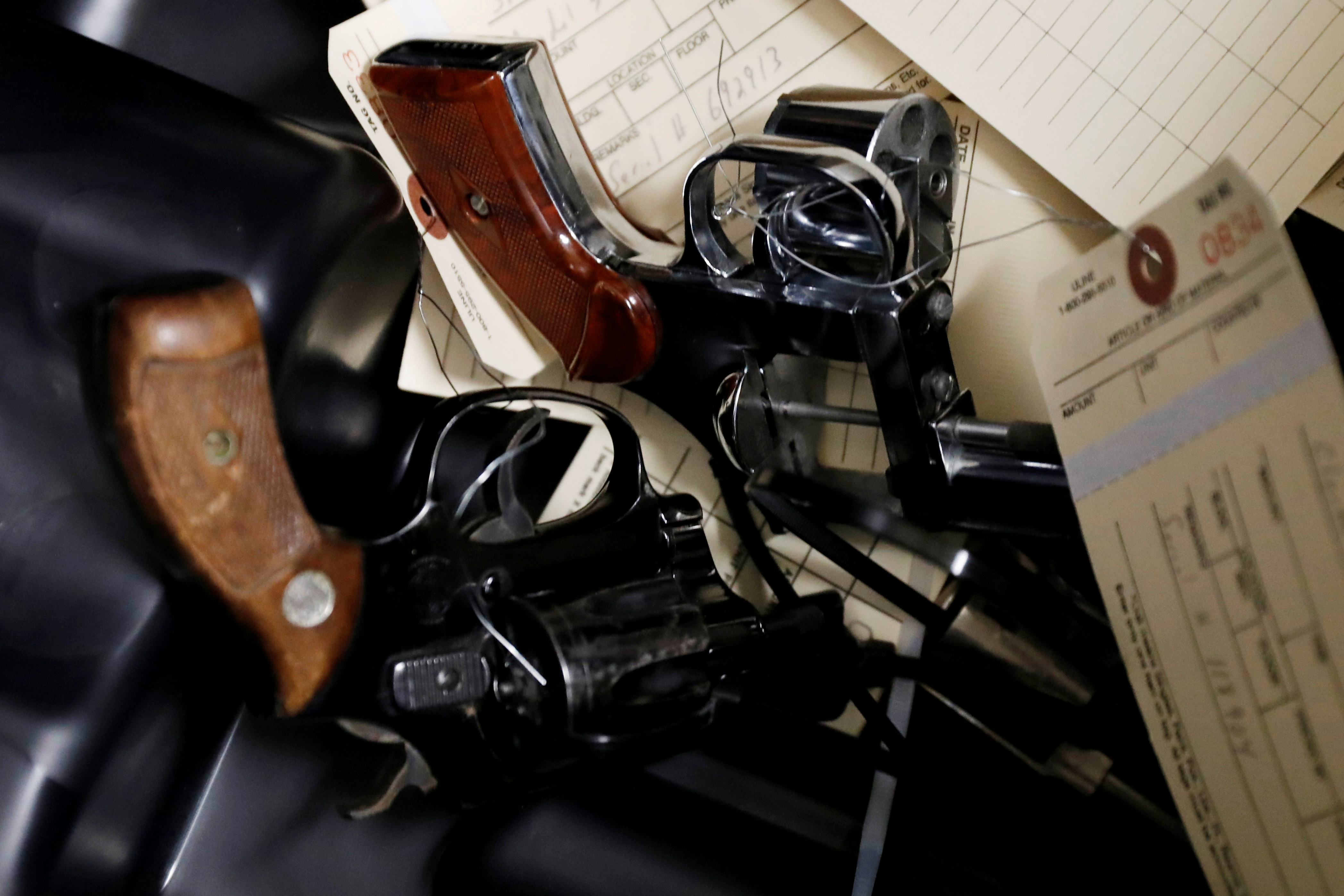Handguns are seen after being turned in during a community gun buy-back program in White Plains, New York, U.S., April 13, 2018. REUTERS/Shannon Stapleton