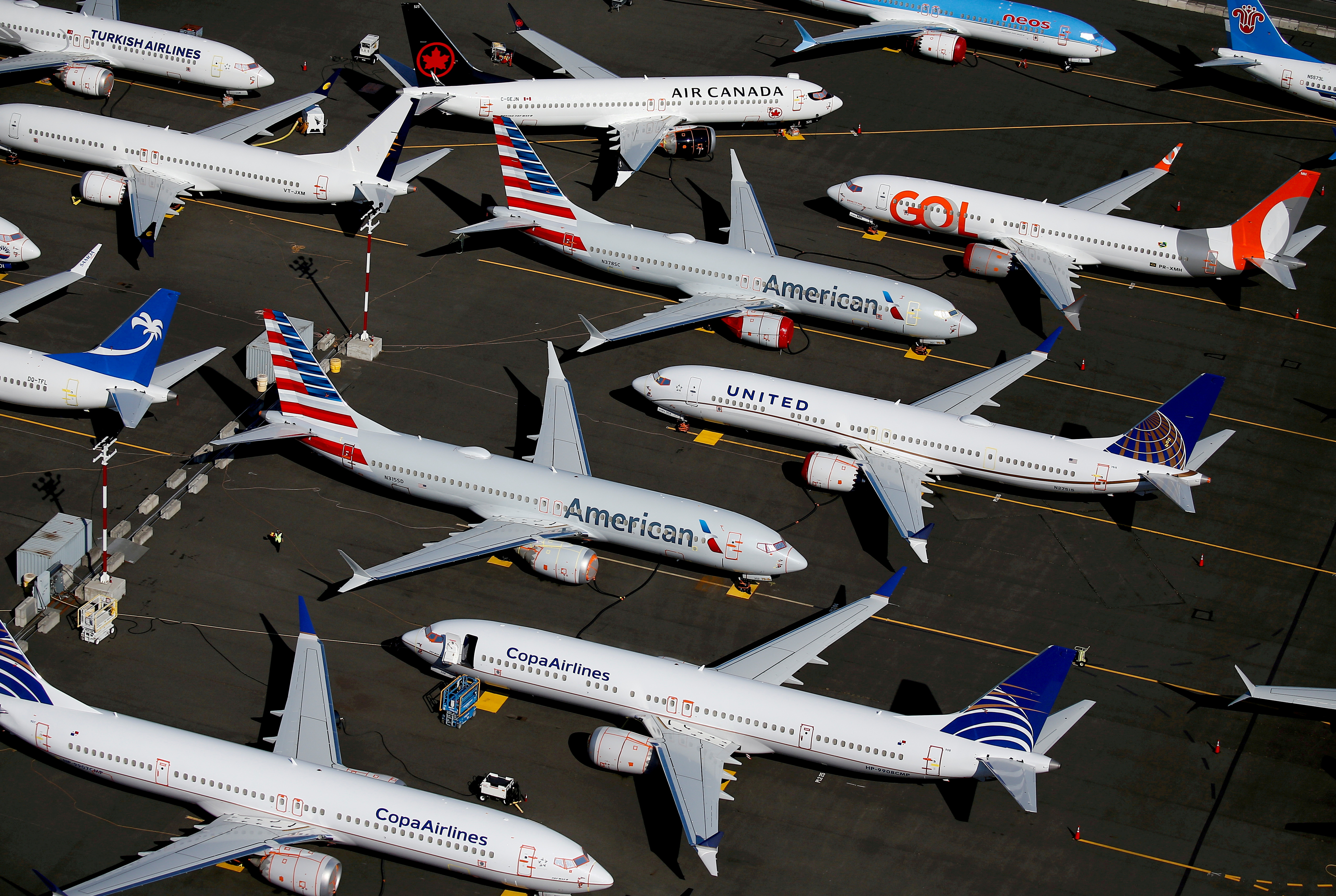 Grounded Boeing 737 MAX aircraft are seen parked in an aerial photo at Boeing Field in Seattle, Washington, U.S. July 1, 2019.REUTERS/Lindsey Wasson