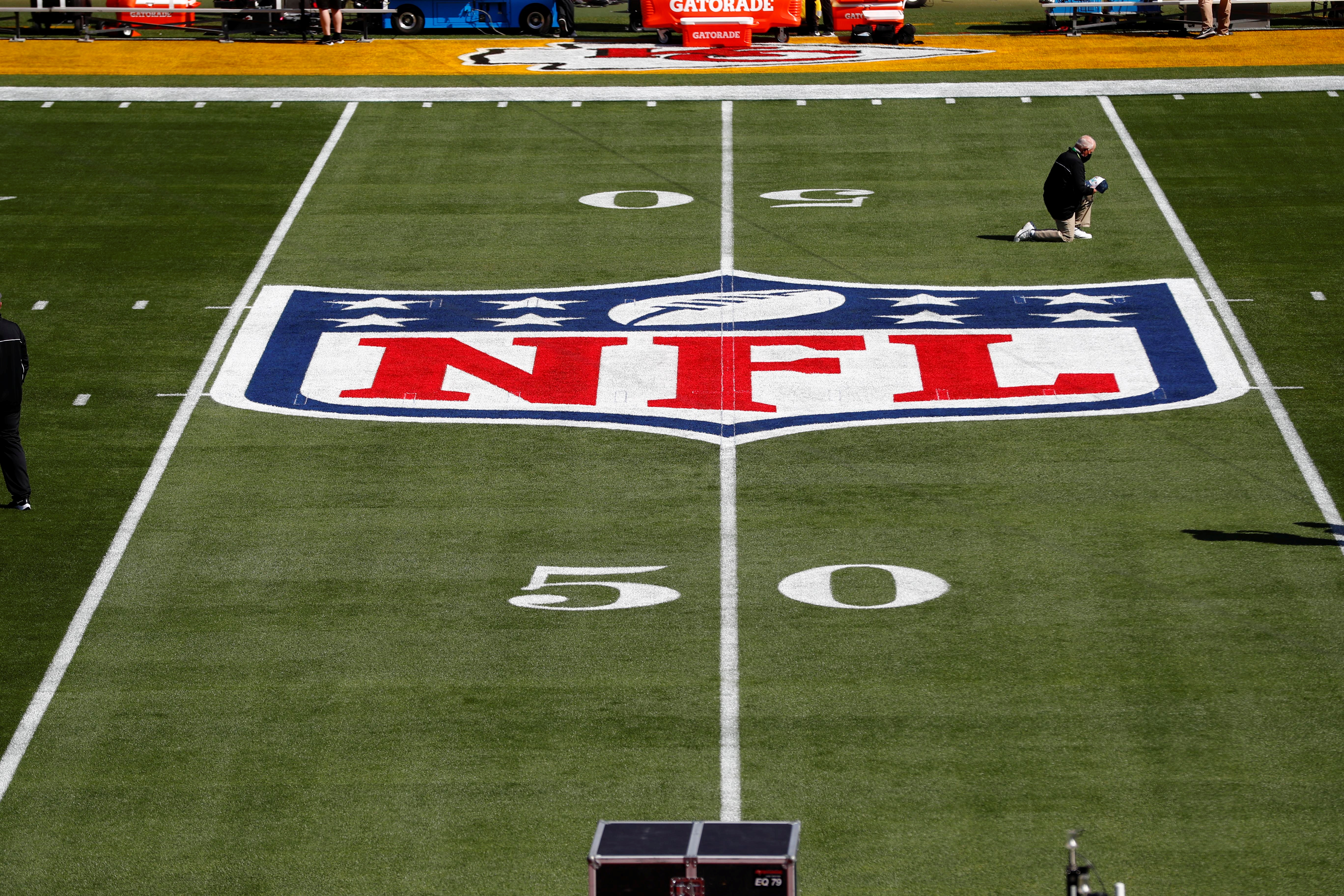 Feb 7, 2020; Tampa, FL, USA;  General view of the NFL Shield logo on the field before Super Bowl LV between the Tampa Bay Buccaneers and the Kansas City Chiefs at Raymond James Stadium.  Mandatory Credit: Kim Klement-USA TODAY Sports/File Photo