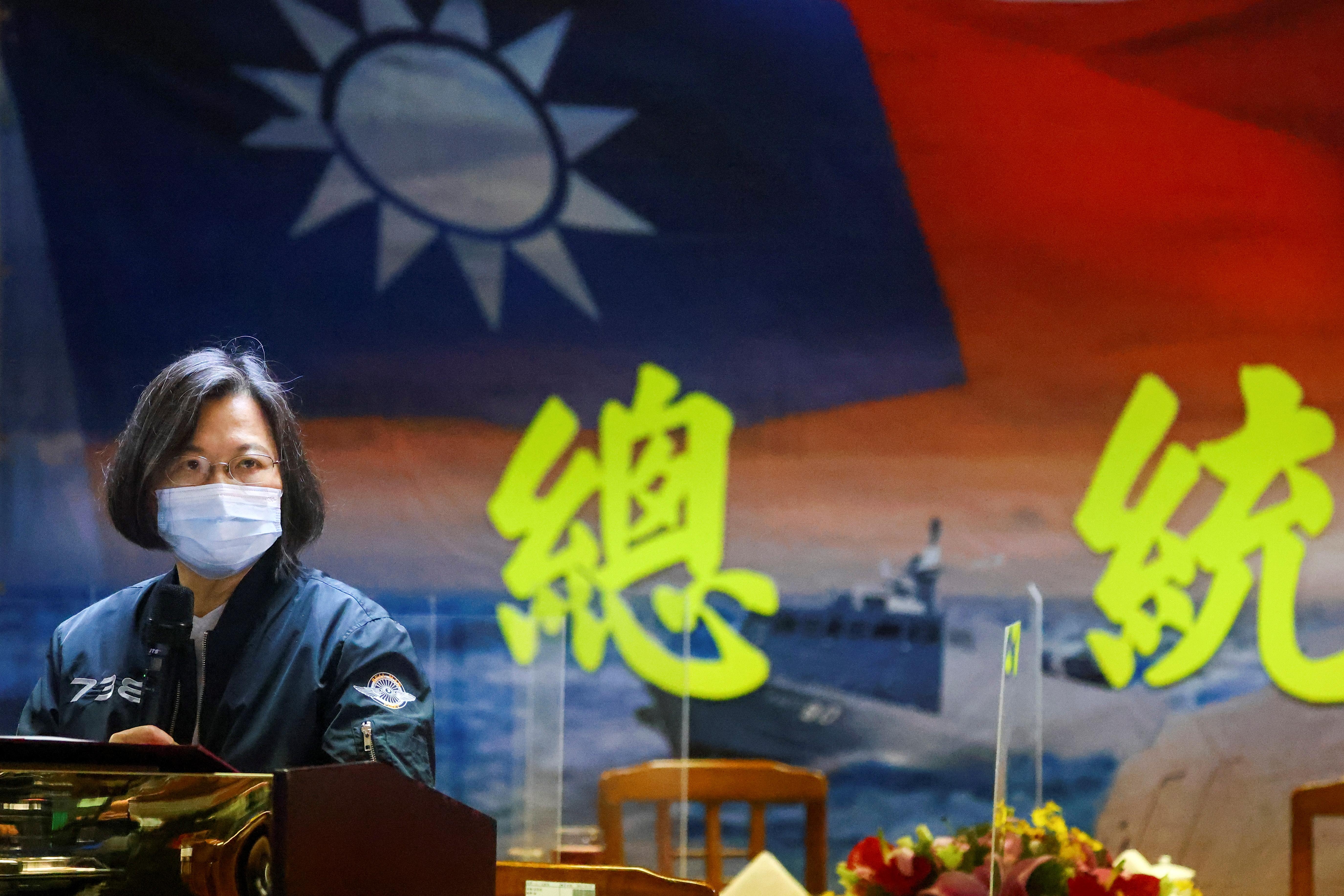 Taiwan's President Tsai Ing-wen gives a speech after visiting the Navy's 131st Fleet in Keelung, Taiwan, March 8, 2021. REUTERS/Ann Wang