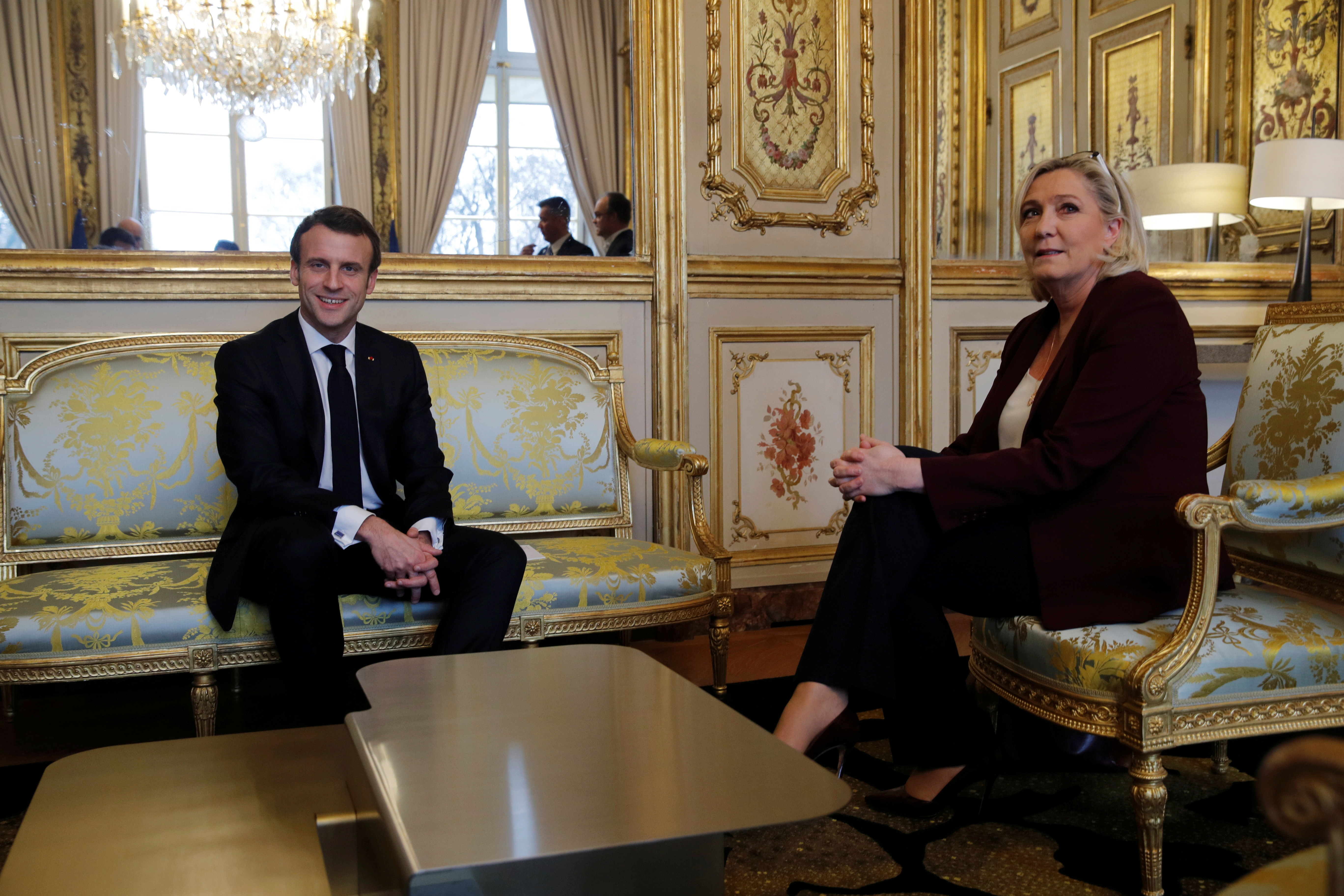 French President Emmanuel Macron attends a meeting with French far-right National Rally (Rassemblement National) party leader Marine Le Pen at the Elysee Palace in Paris, France, February 6, 2019. REUTERS/Philippe Wojazer/Pool/File Photo