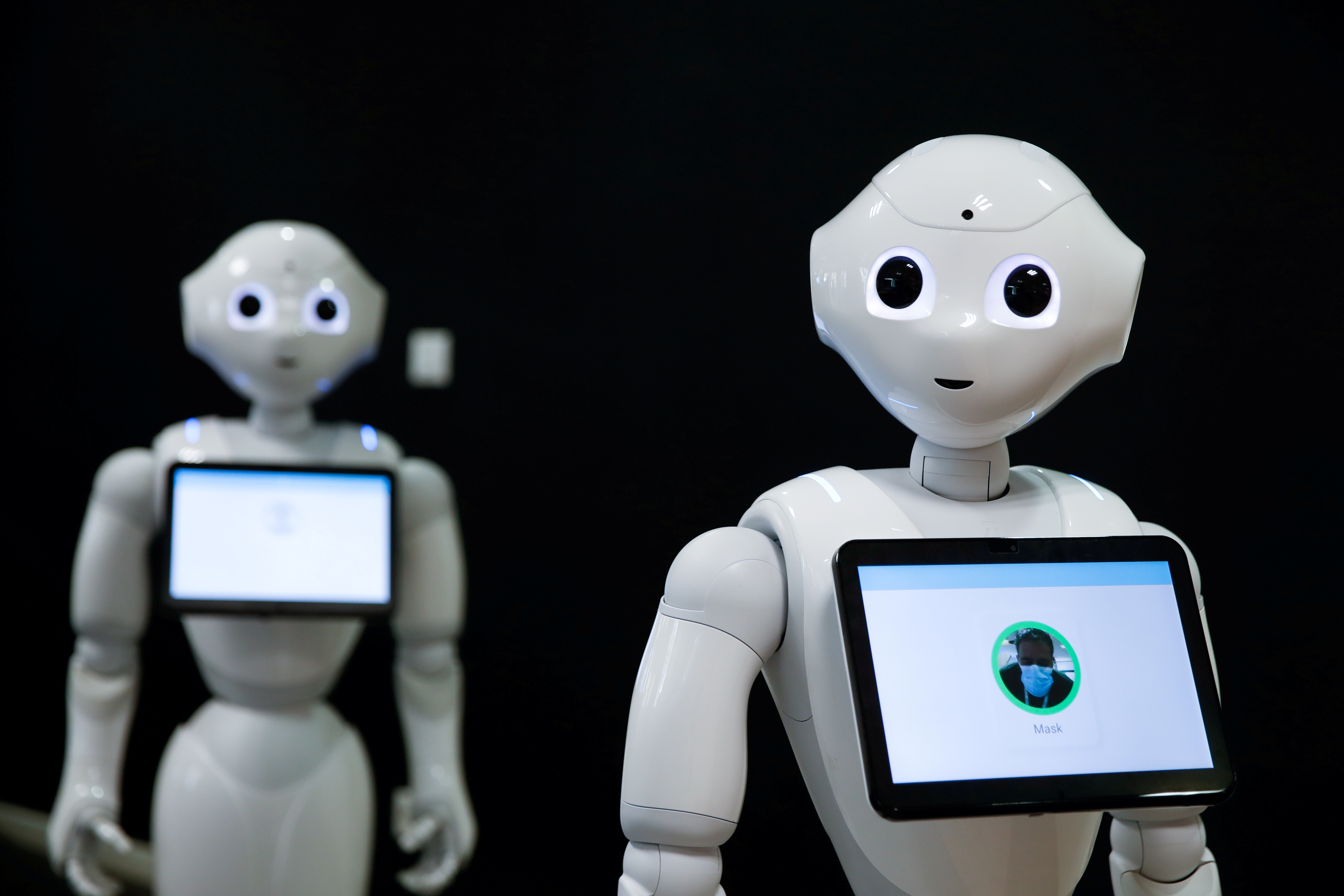 French robot Pepper, detecting whether people are wearing face masks and if not, instructs them to wear them, is displayed at French robotics developer SoftBank Robotics in Paris as the coronavirus disease (COVID-19) continues to spread out across France, September 8, 2020.