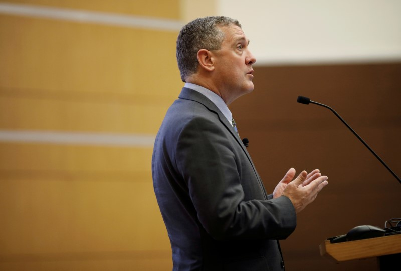 St. Louis Federal Reserve Bank President James Bullard speaks at a public lecture in Singapore October 8, 2018. REUTERS/Edgar Su