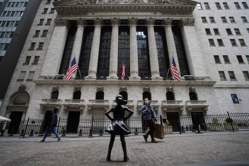 The New York Stock Exchange is pictured in the Manhattan borough of New York City, New York, U.S., April 16, 2021. REUTERS/Carlo Allegri/File Photo