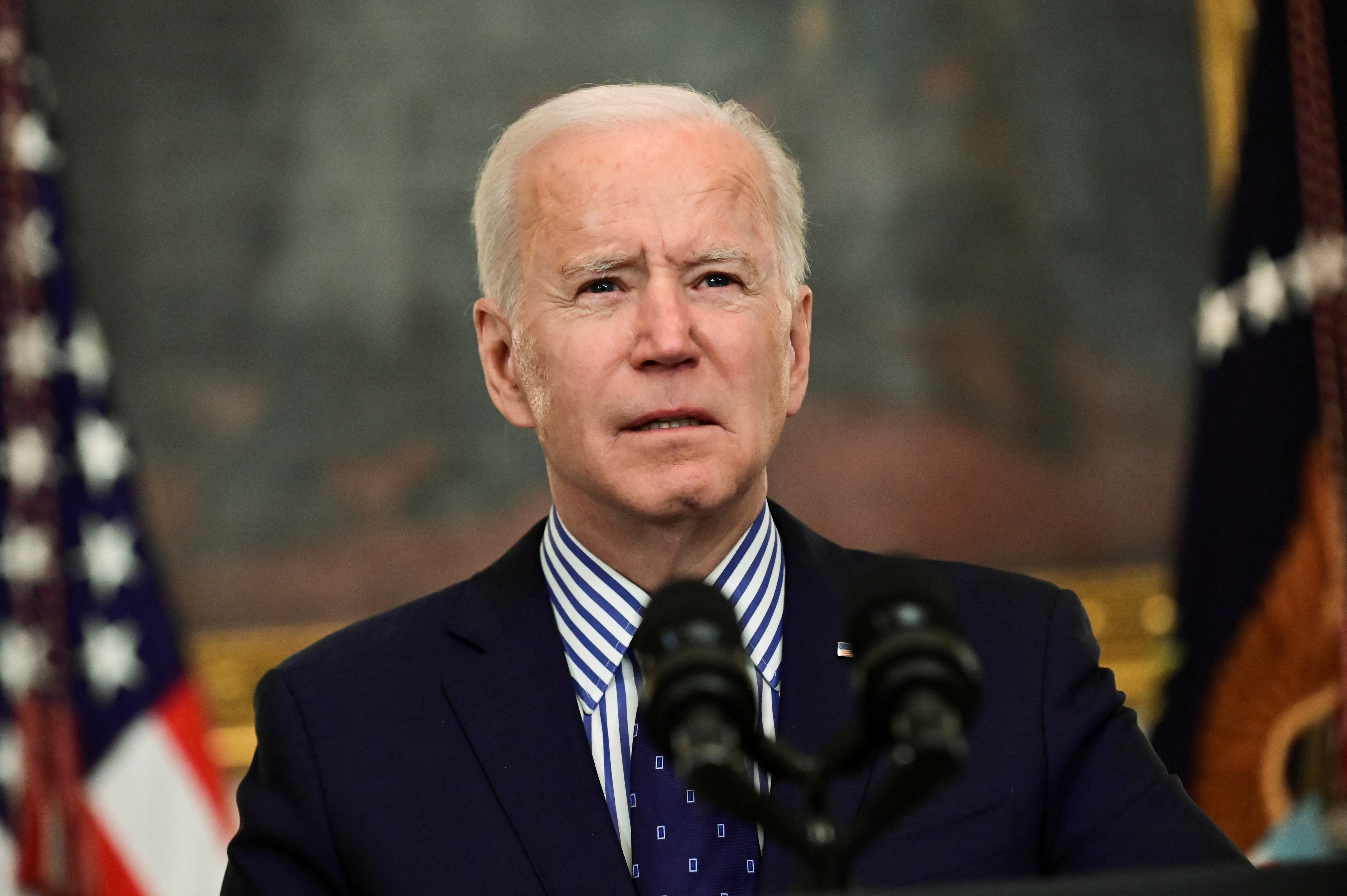 President Biden makes remarks from the White House after his coronavirus pandemic relief legislation passed in the Senate, in Washington, U.S. March 6, 2021. REUTERS/Erin Scott
