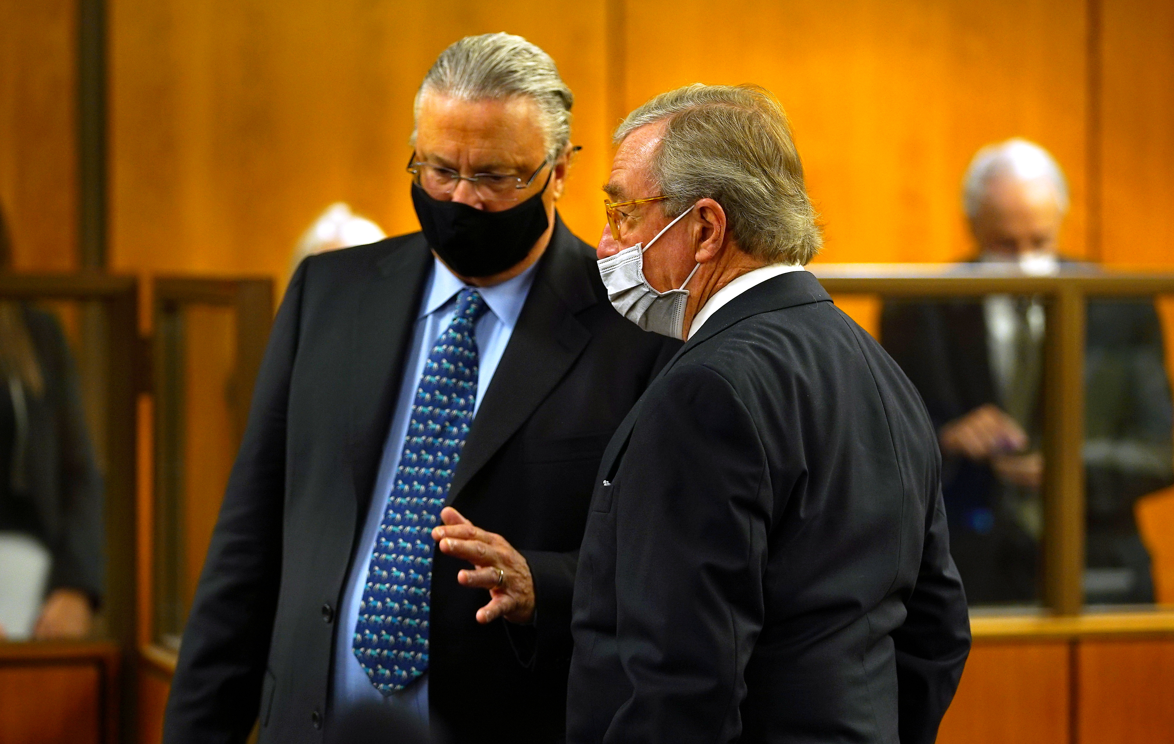 Robert Durst defense attorneys Dick DeGuerin (R) and David Z. Chesnoff confer as they appear before Judge Mark E. Windham who denied an emergency motion by the defense team seeking to postpone his trial at Inglewood Courthouse in Inglewood, California, U.S. May 17, 2021.  Al Seib/Pool via REUTERS