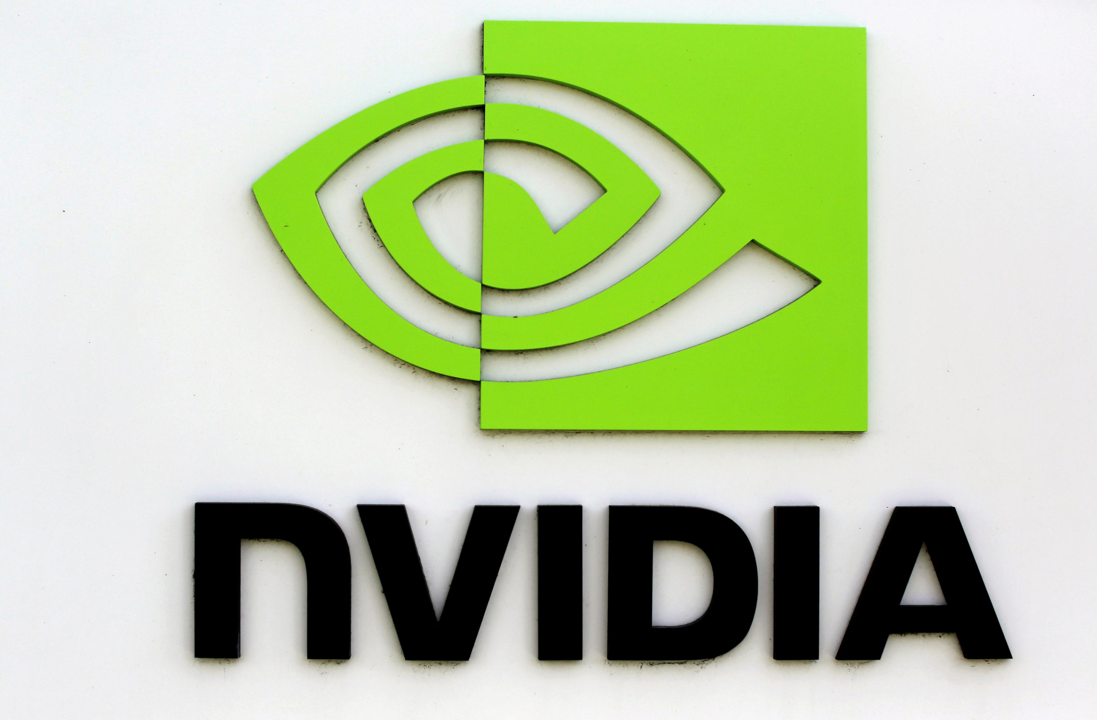 The logo of technology company Nvidia is seen at its headquarters in Santa Clara, California, February 11, 2015.  REUTERS/Robert Galbraith/File Photo