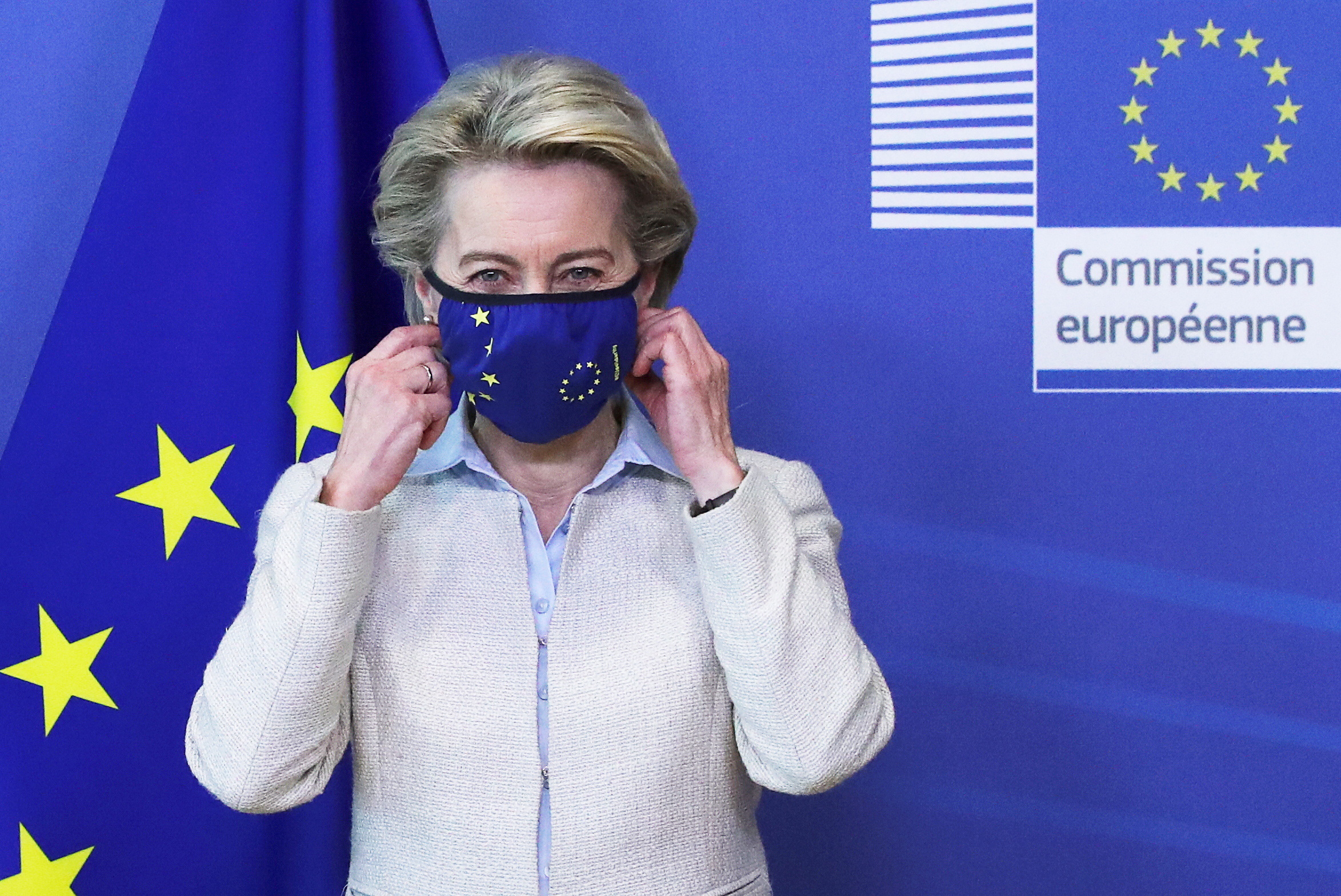 European Commission President Ursula von der Leyen removes her mask while meeting with Jordan's King Abdullah II ibn Al Hussein (not pictured) in Brussels, Belgium May 5, 2021. REUTERS/Yves Herman/Pool