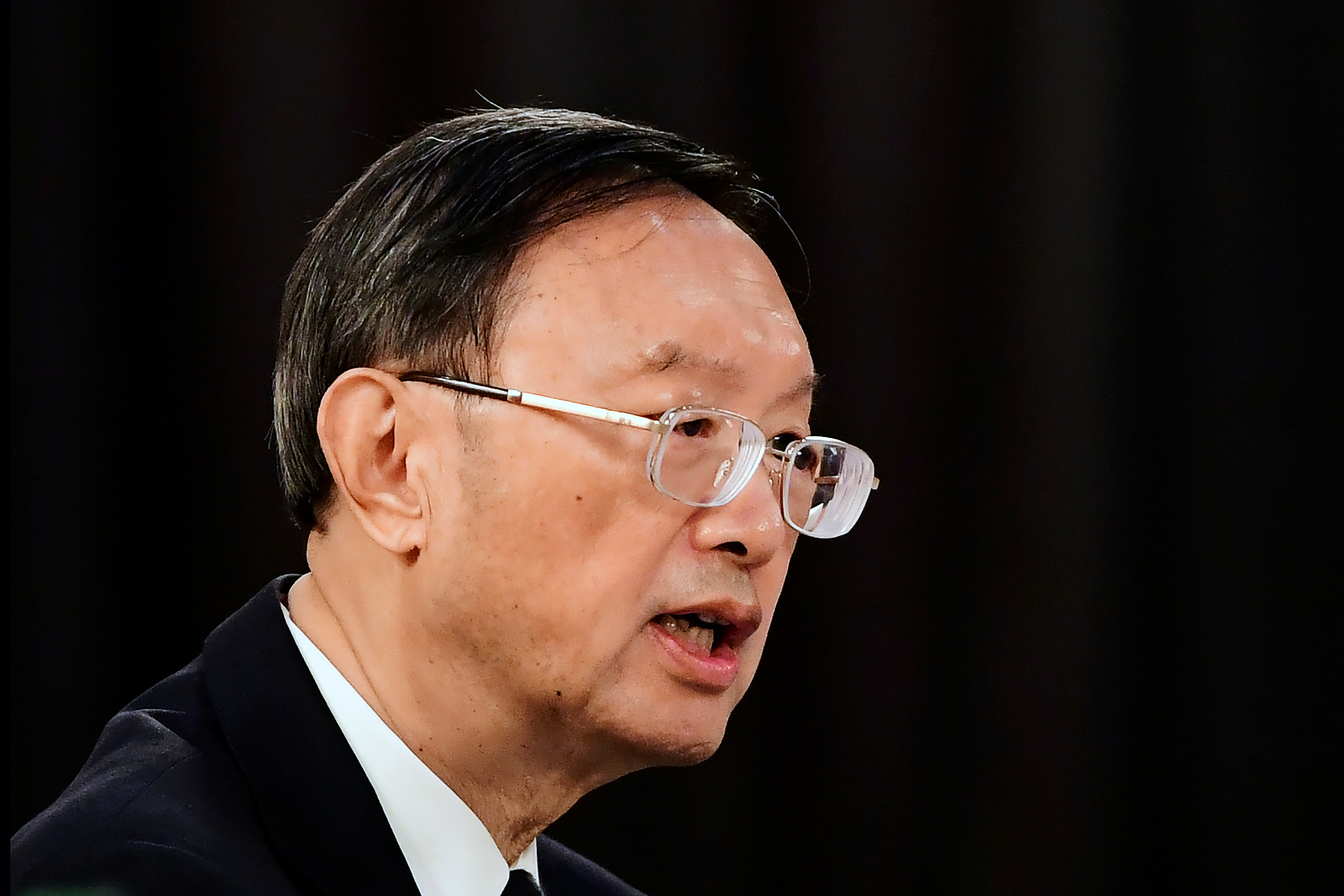 Yang Jiechi, director of the Central Foreign Affairs Commission Office for China, addresses the U.S. delegation at the opening session of U.S.-China talks at the Captain Cook Hotel in Anchorage, Alaska, U.S. March 18, 2021. Frederic J. Brown/Pool via REUTERS