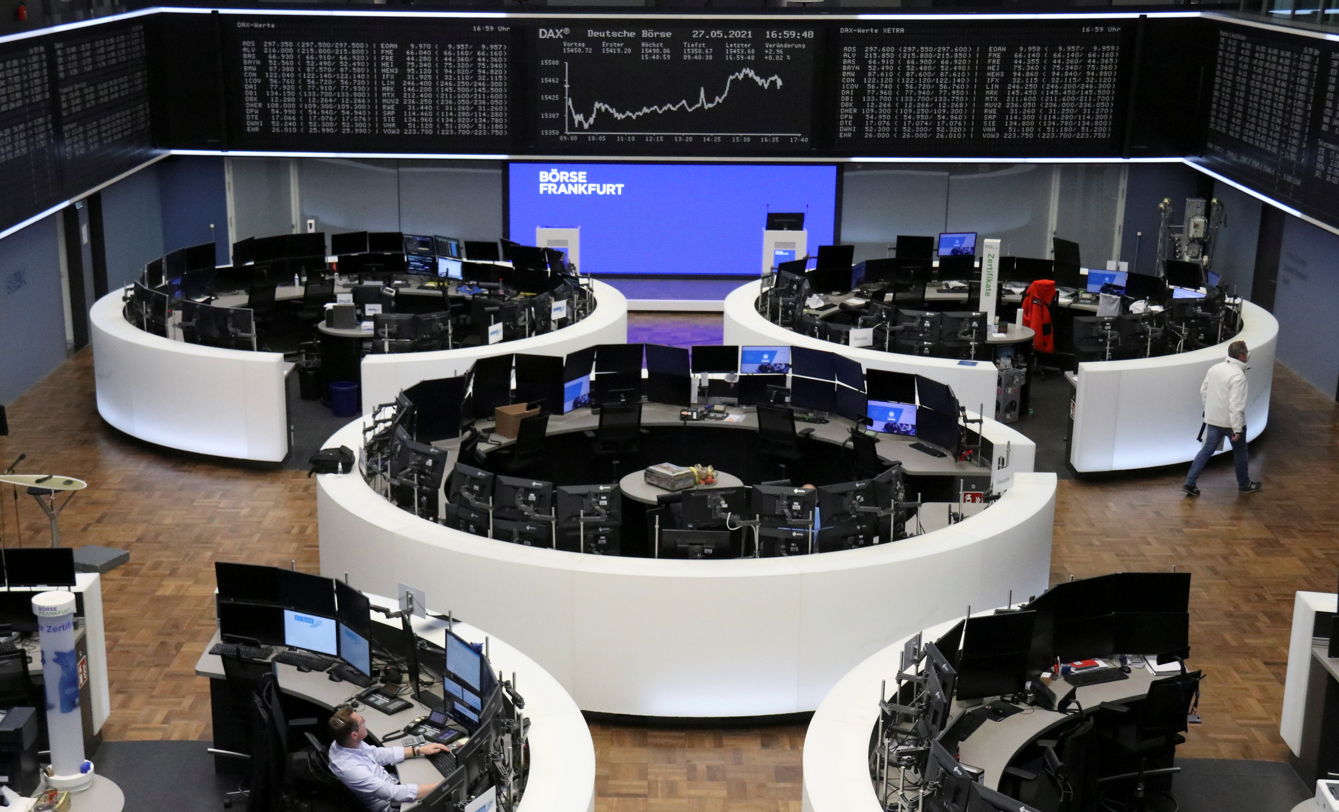 The German share price index DAX graph is pictured at the stock exchange in Frankfurt, Germany, May 27, 2021.    REUTERS/Staff