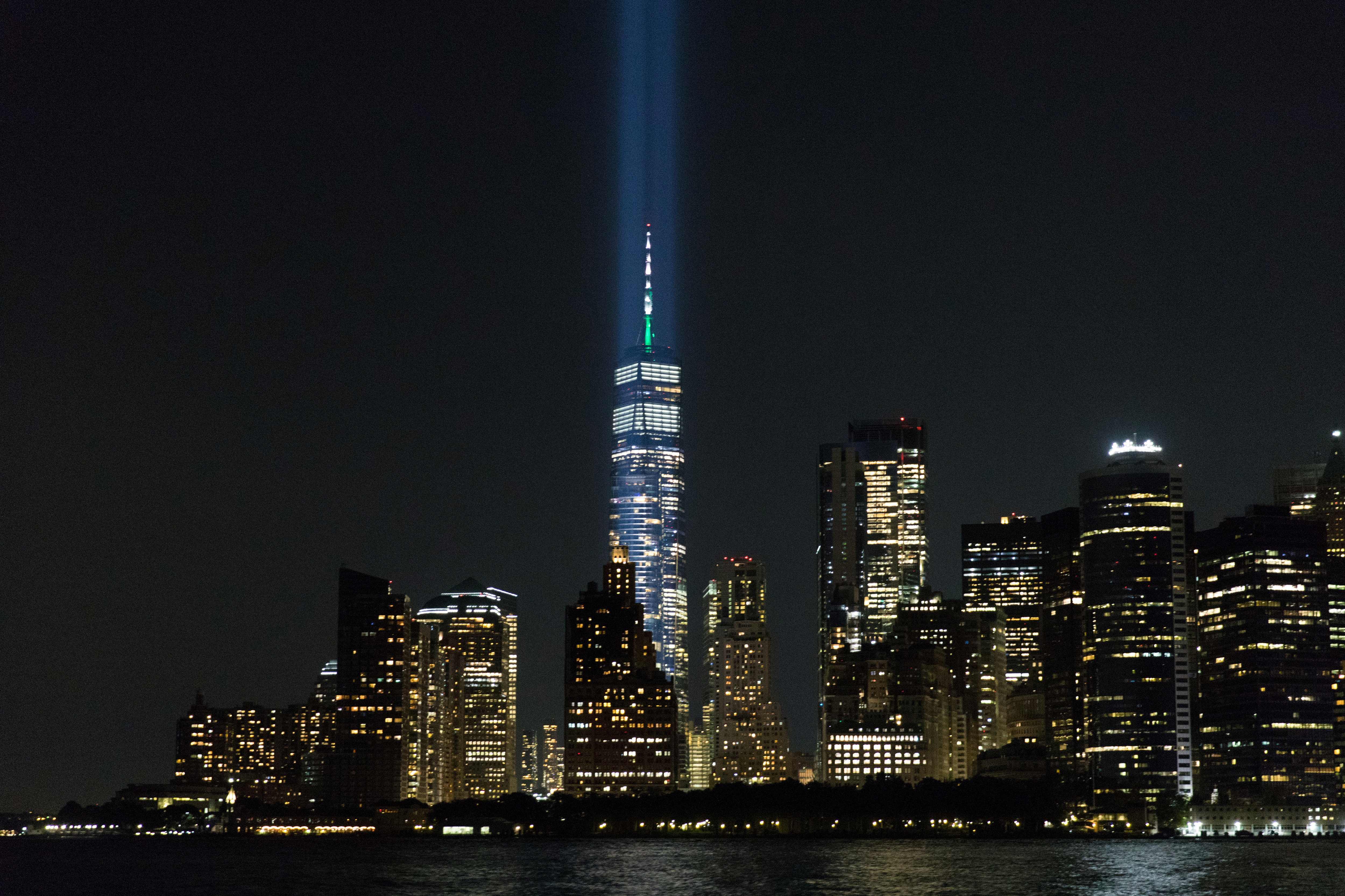 The tribute in lights is tested before the 20th anniversary of the September 11 attacks in New York City, New York, U.S., September 7, 2021.  REUTERS/Bjoern Kils/New York Media Boat
