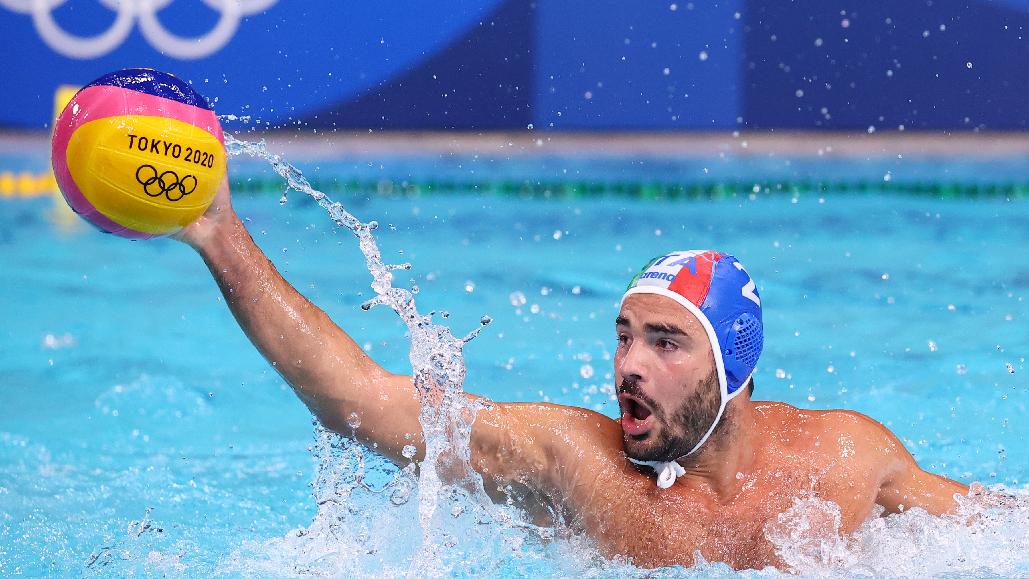 Tokyo 2020 Olympics - Water Polo - Men - Group A - United States v Italy - Tatsumi Water Polo Centre, Tokyo, Japan - July 29, 2021. Francesco Di Fulvio of Italy in action. REUTERS/Kacper Pempel