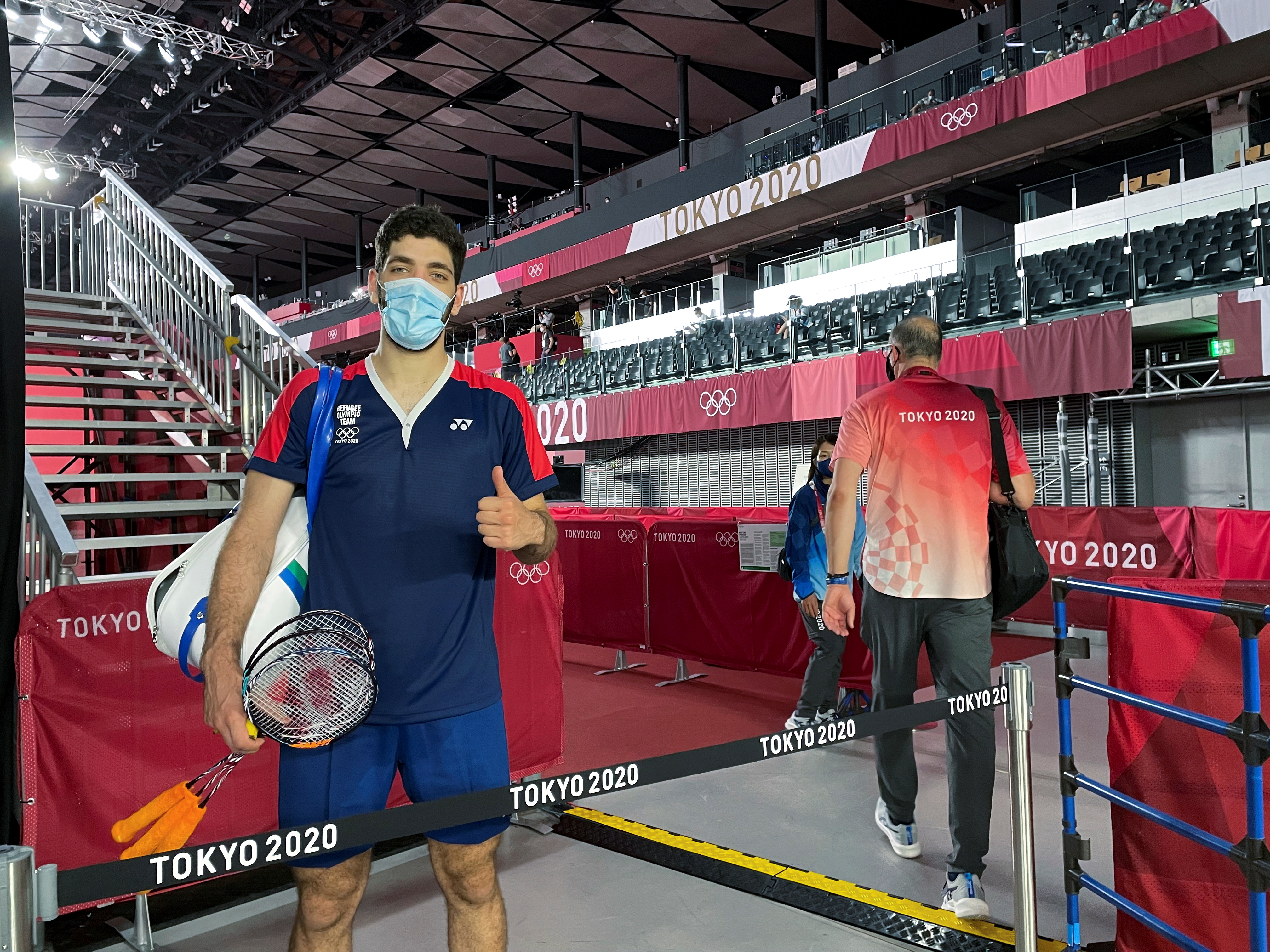 Syrian refugee and Olympic badminton player Aram Mahmoud poses after a match during the Tokyo 2020 Olympics at Musashino Forest Sports Plaza in Tokyo, Japan, July 24, 2021. REUTERS/Richa Naidu