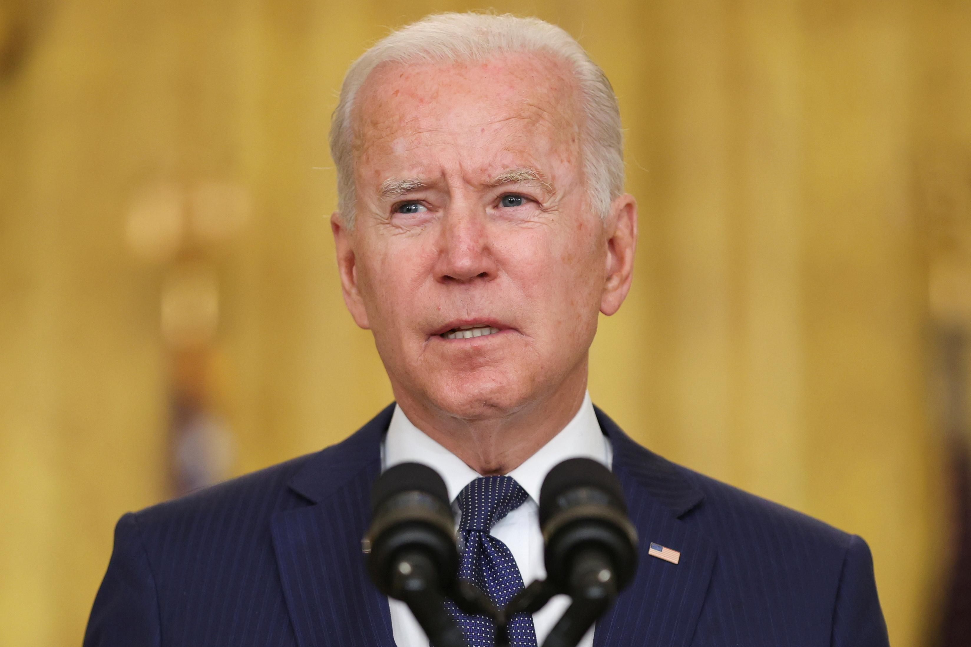 U.S. President Joe Biden delivers remarks about Afghanistan, from the East Room of the White House in Washington, U.S. August 26, 2021. REUTERS/Jonathan Ernst/File Photo
