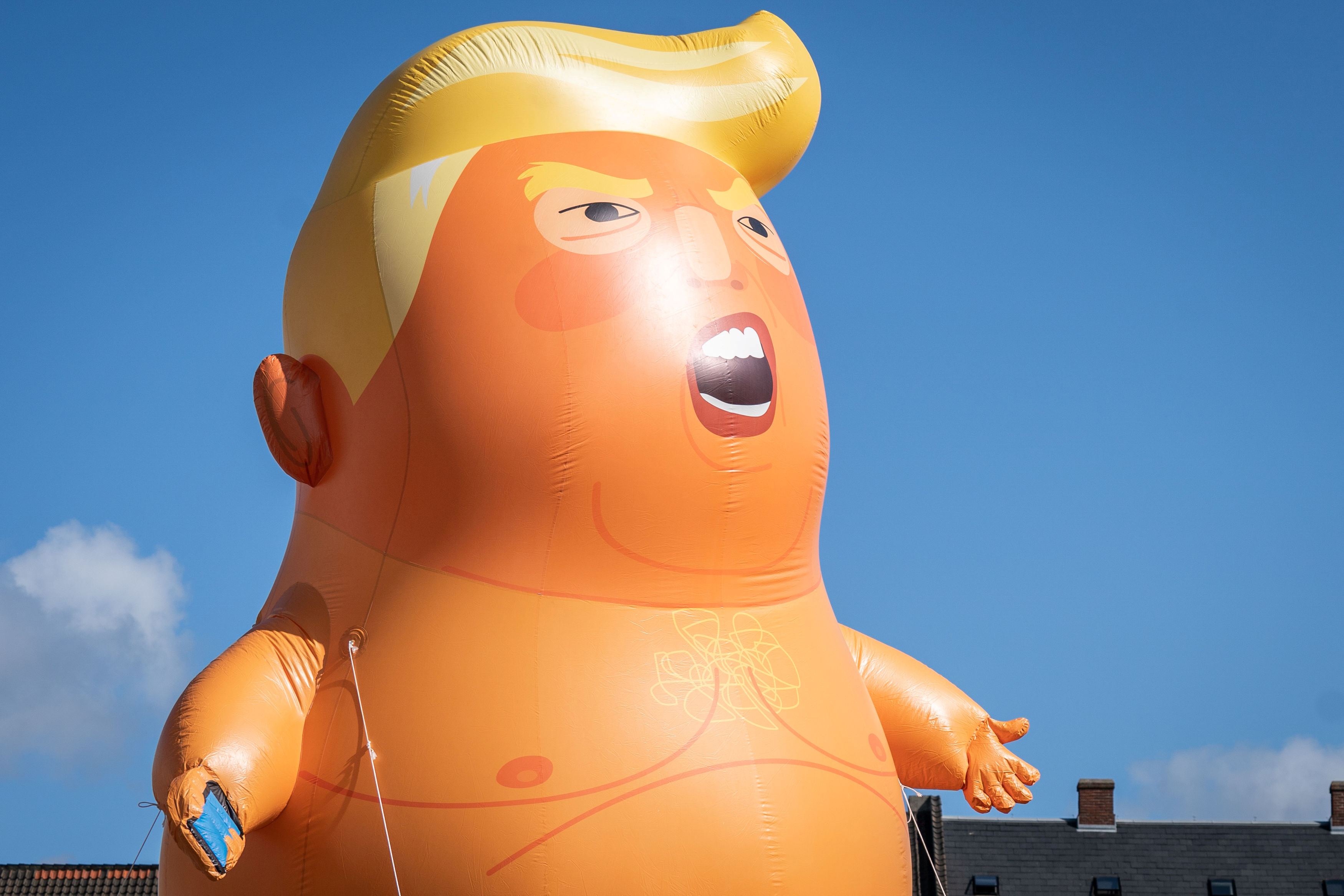 Baby Trump blimp flies at Kongens Nytorv, despite the fact that the U.S. President Donald Trump has cancelled his visit to Denmark, in Copenhagen, Denmark, September 2, 2019. Ritzau Scanpix/via REUTERS