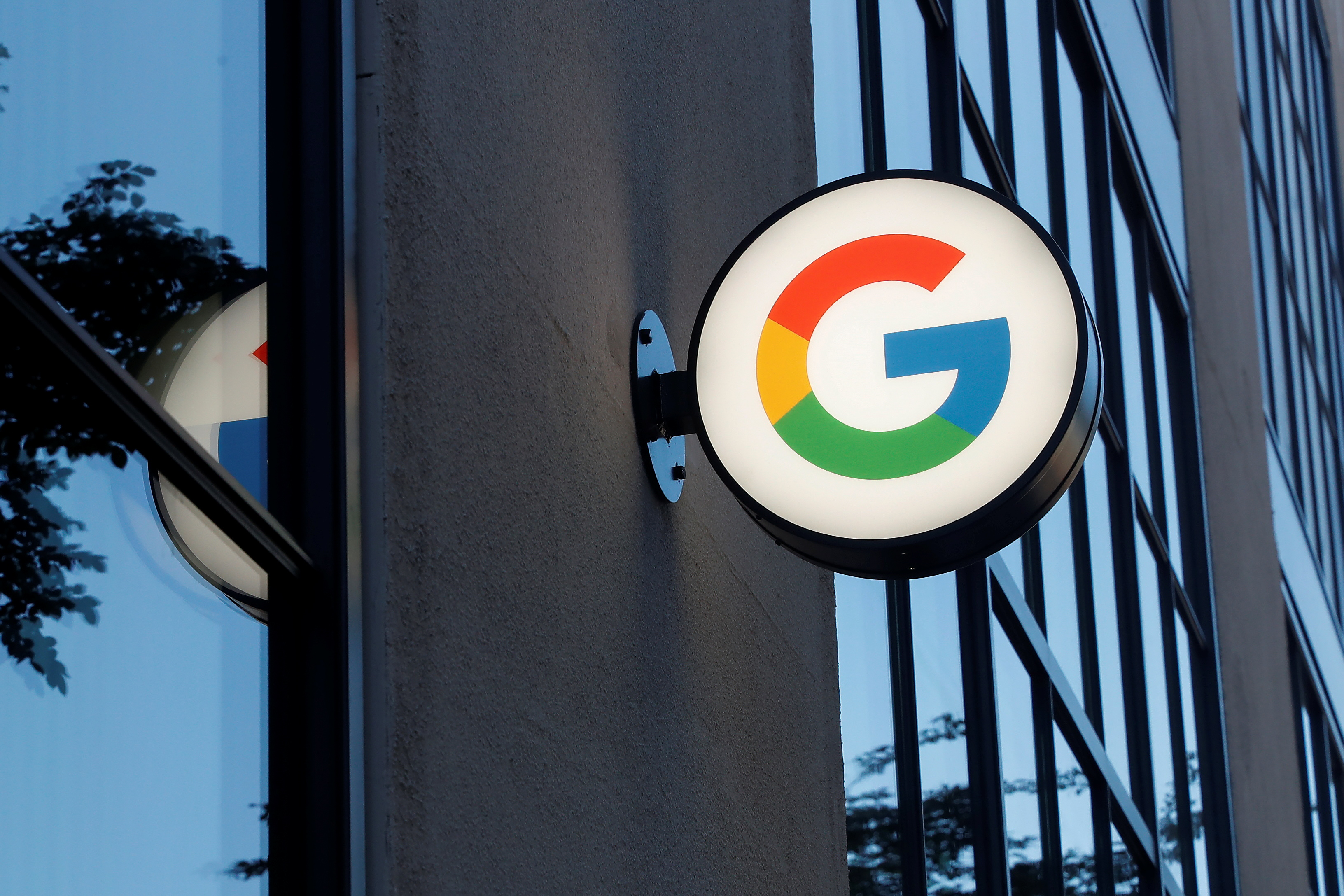 A sign is seen at the entrance to the Google retail store in the Chelsea neighborhood of New York City, U.S., June 17, 2021. REUTERS/Shannon Stapleton