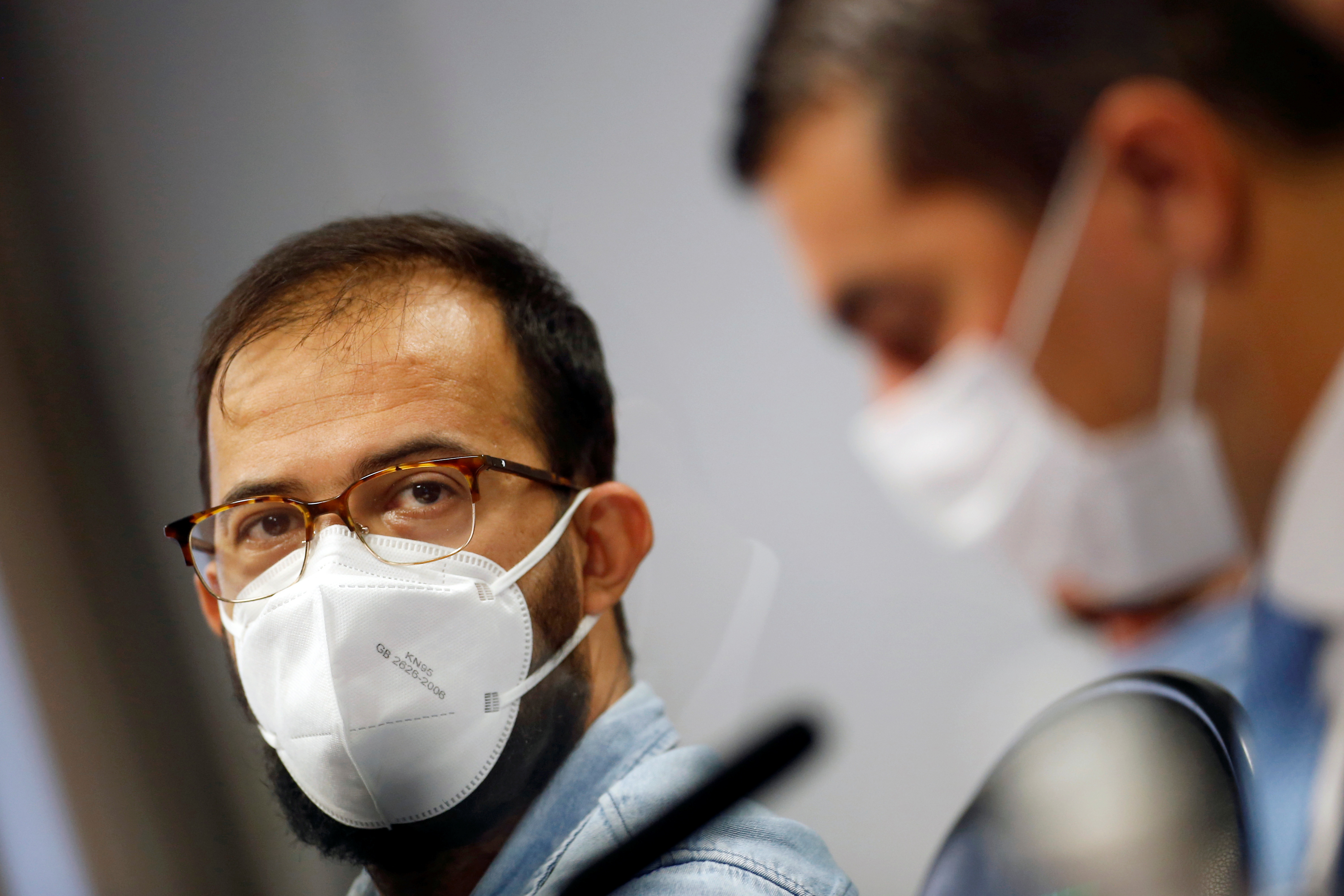 Employee of the Ministry of Health, Luis Ricardo Fernandes Miranda, attends a meeting of the Parliamentary Inquiry Committee (CPI) to investigate government actions and management during the coronavirus disease (COVID-19) pandemic, at the Federal Senate in Brasilia, Brazil June 25, 2021. REUTERS/Adriano Machado