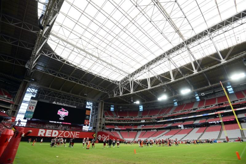 Aug 2, 2021; Phoenix, AZ, USA; A general view during Arizona Cardinals training camp at State Farm Stadium. Mandatory Credit: Joe Camporeale-USA TODAY Sports