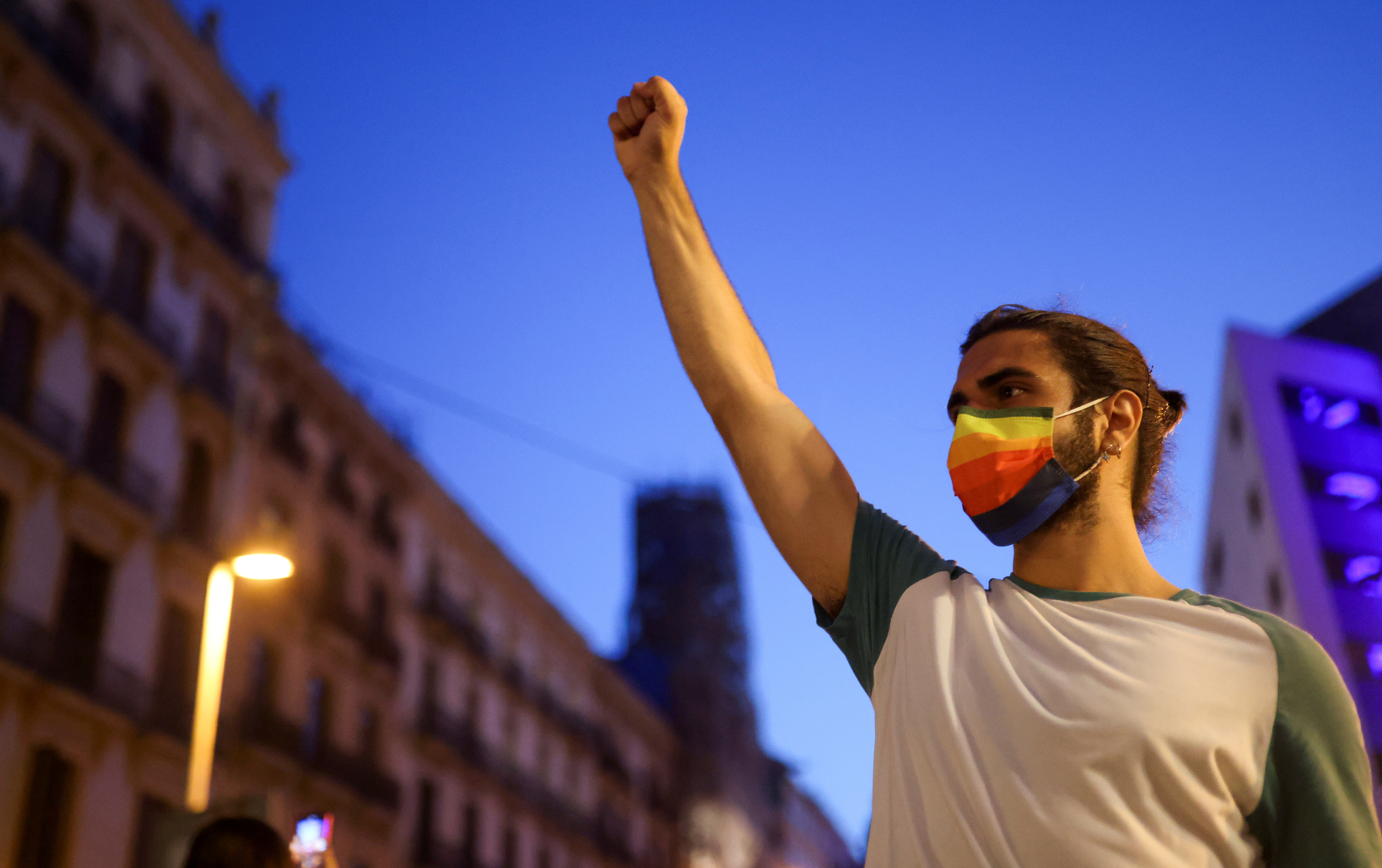 An LGBT+ activist gestures during a protest over the death of Samuel Luiz, who was attacked outside a club in A Coruna, in Barcelona, Spain July 5, 2021. REUTERS/Nacho Doce