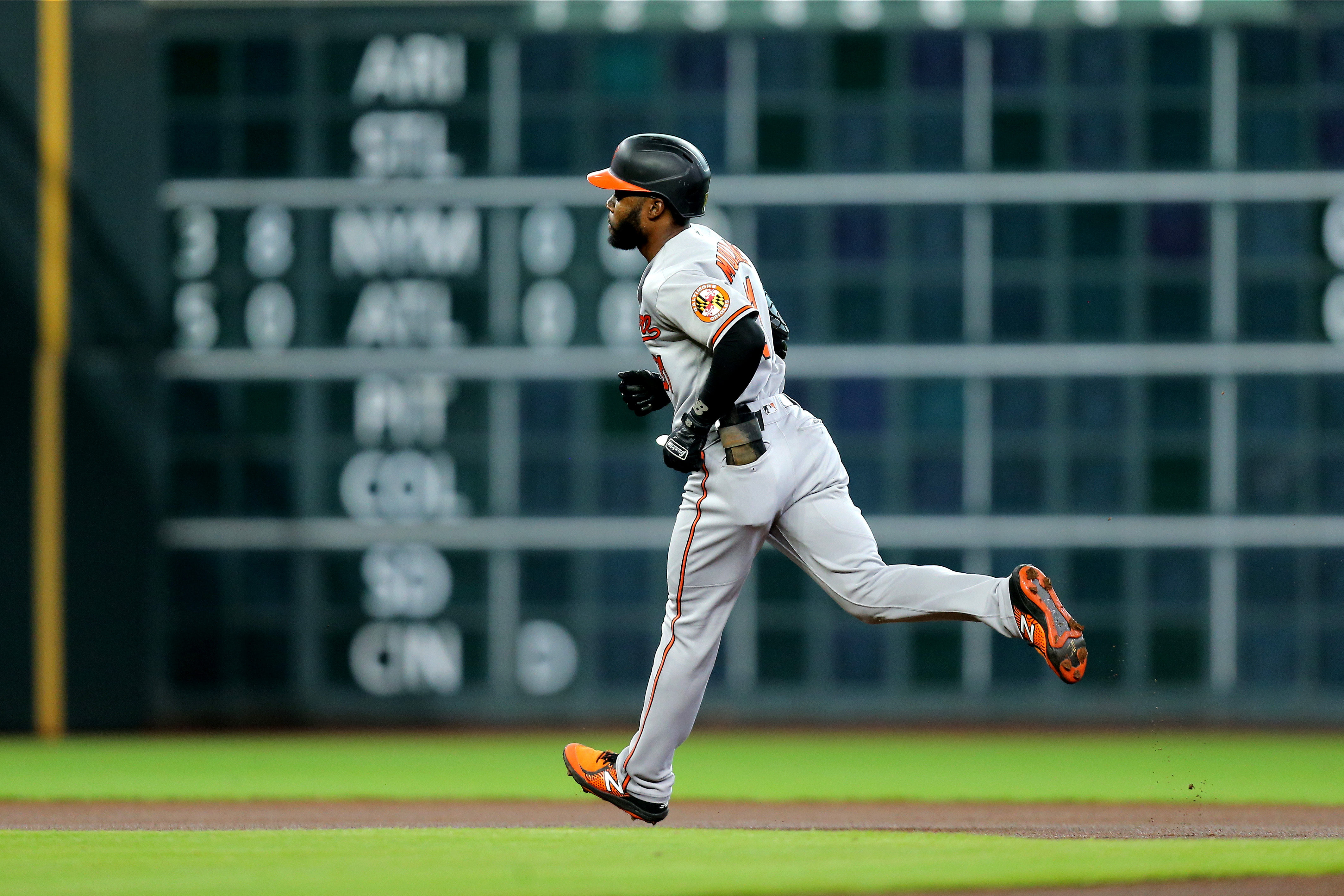 Jun 29, 2021; Houston, Texas, USA; Baltimore Orioles center fielder Cedric Mullins (31) rounds the bases after hitting a home run against the Houston Astros during the first inning at Minute Maid Park. Mandatory Credit: Erik Williams-USA TODAY Sports