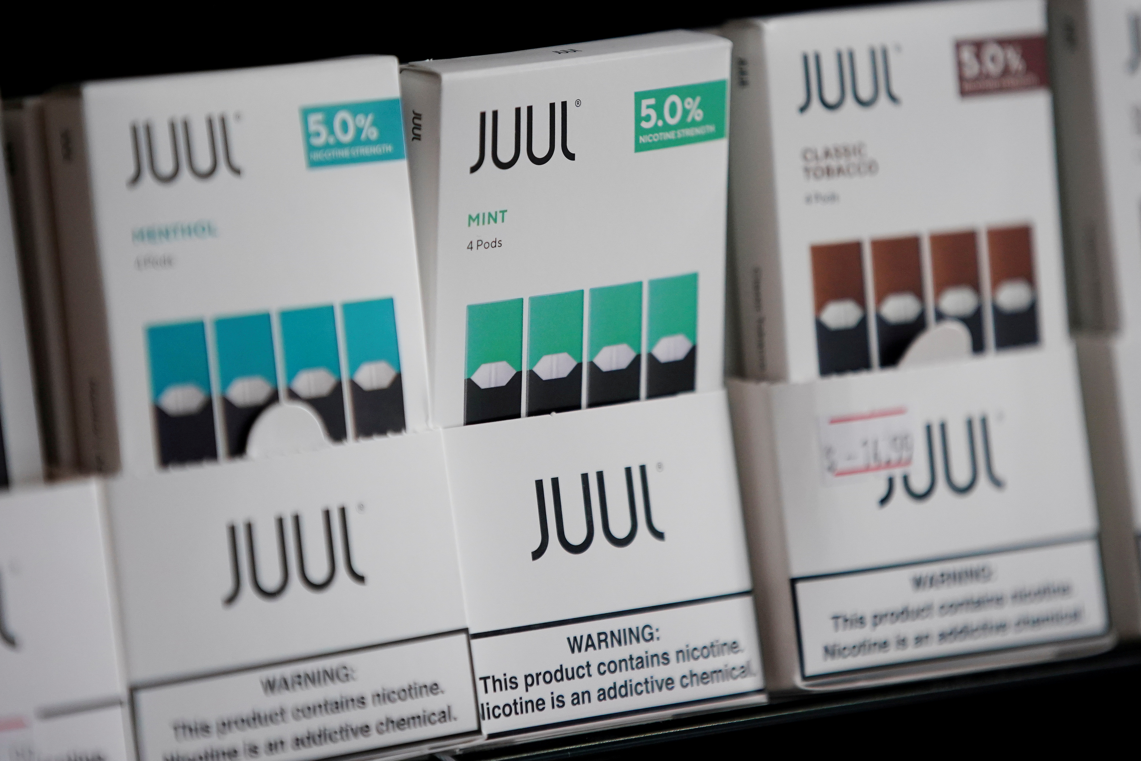 Juul brand vape cartridges are pictured for sale at a shop in Atlanta, Georgia, U.S., September 26, 2019. REUTERS/Elijah Nouvelage
