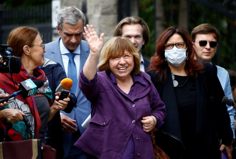 The 2015 Nobel literature laureate Svetlana Alexievich arrives for questioning by a state investigative committee during an outbreak of mass protests in Minsk, Belarus, August 26, 2020. REUTERS/Vasily Fedosenko
