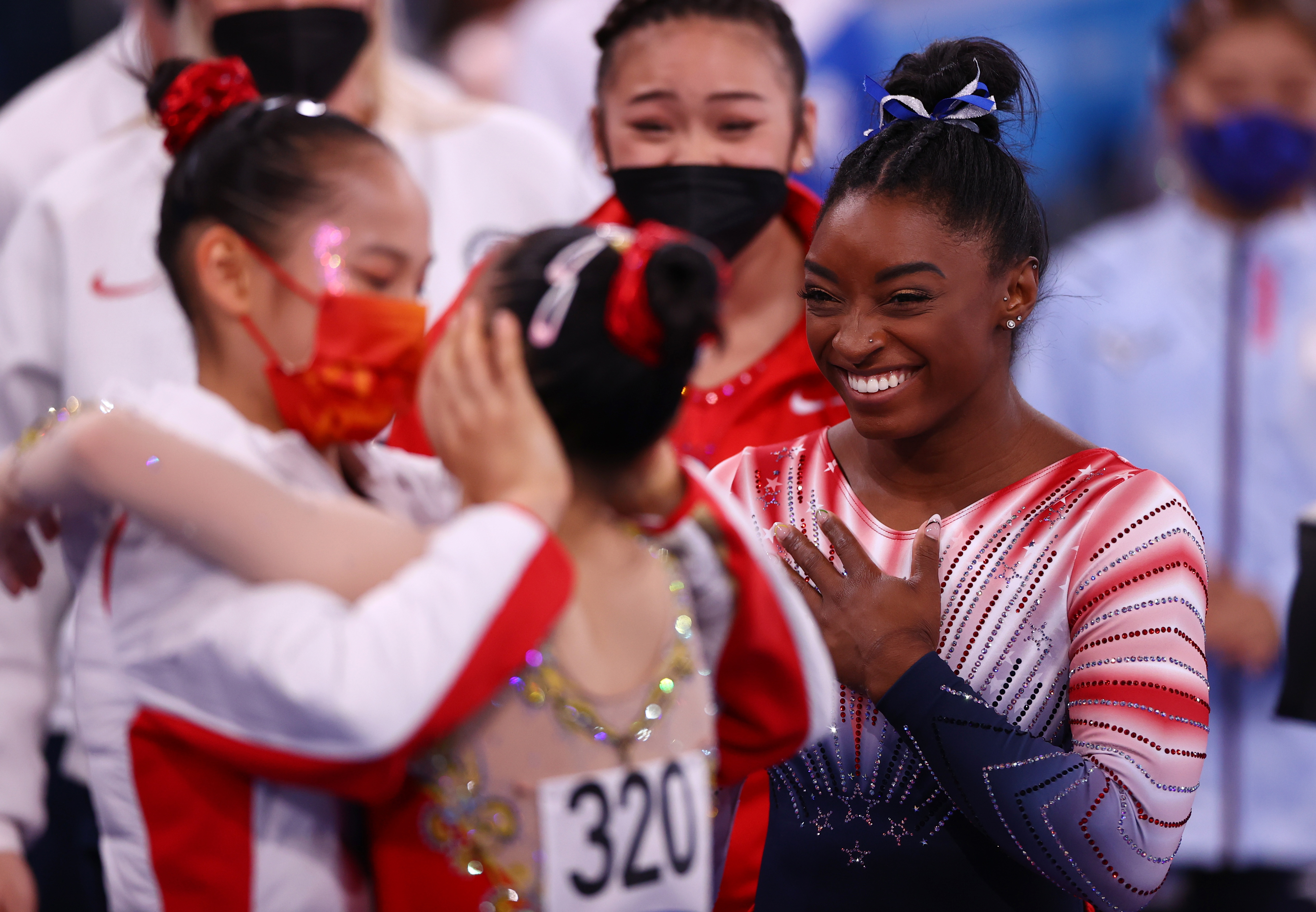 Tokyo 2020 Olympics - Gymnastics - Artistic - Women's Beam - Final - Ariake Gymnastics Centre, Tokyo, Japan - August 3, 2021. Simone Biles of the United States reacts. REUTERS/Lisi Niesner