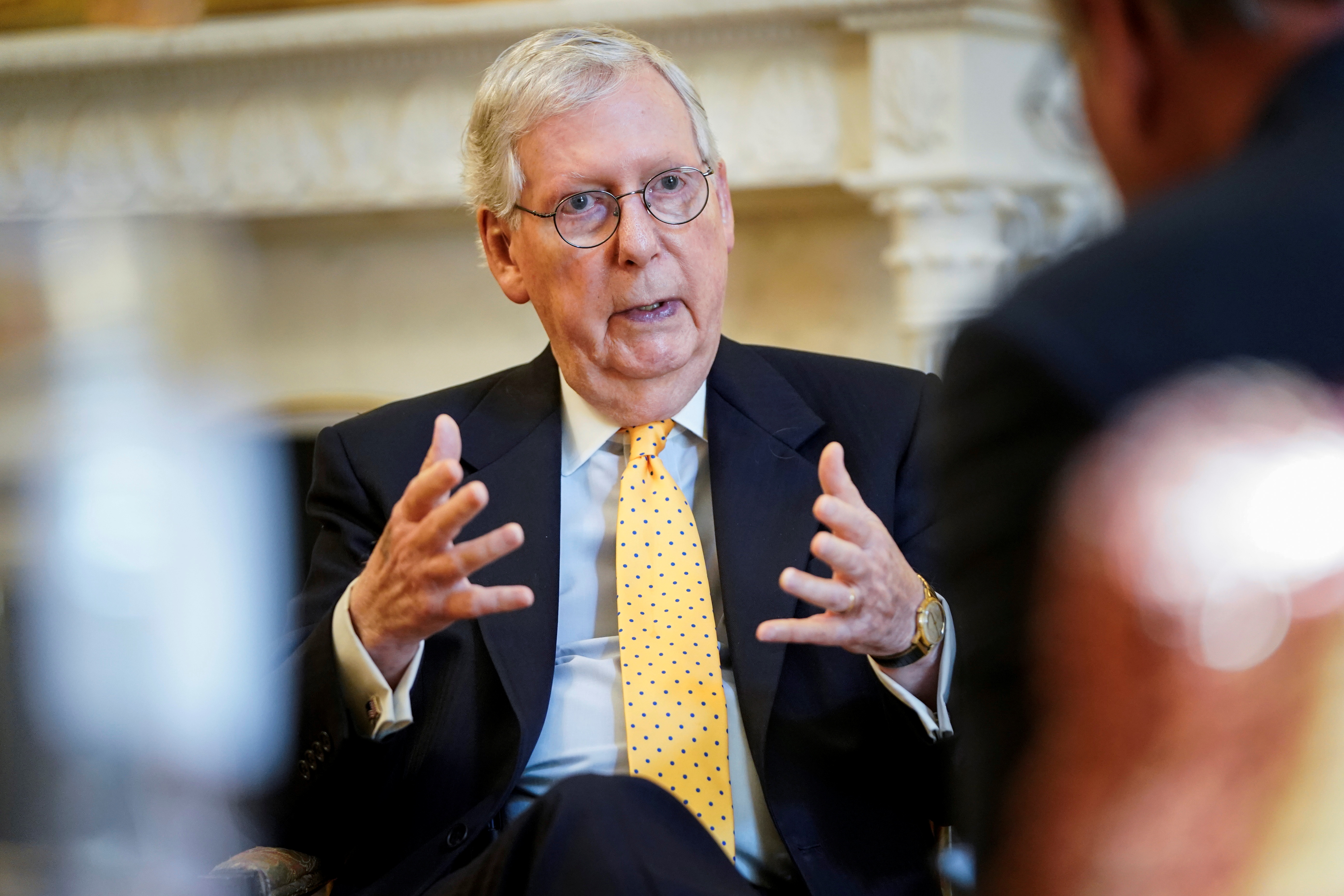 Senate Minority Leader Mitch McConnell (R-KY) speaks during an interview with Reuters on Capitol Hill in Washington, U.S., July 27, 2021.      REUTERS/Joshua Roberts