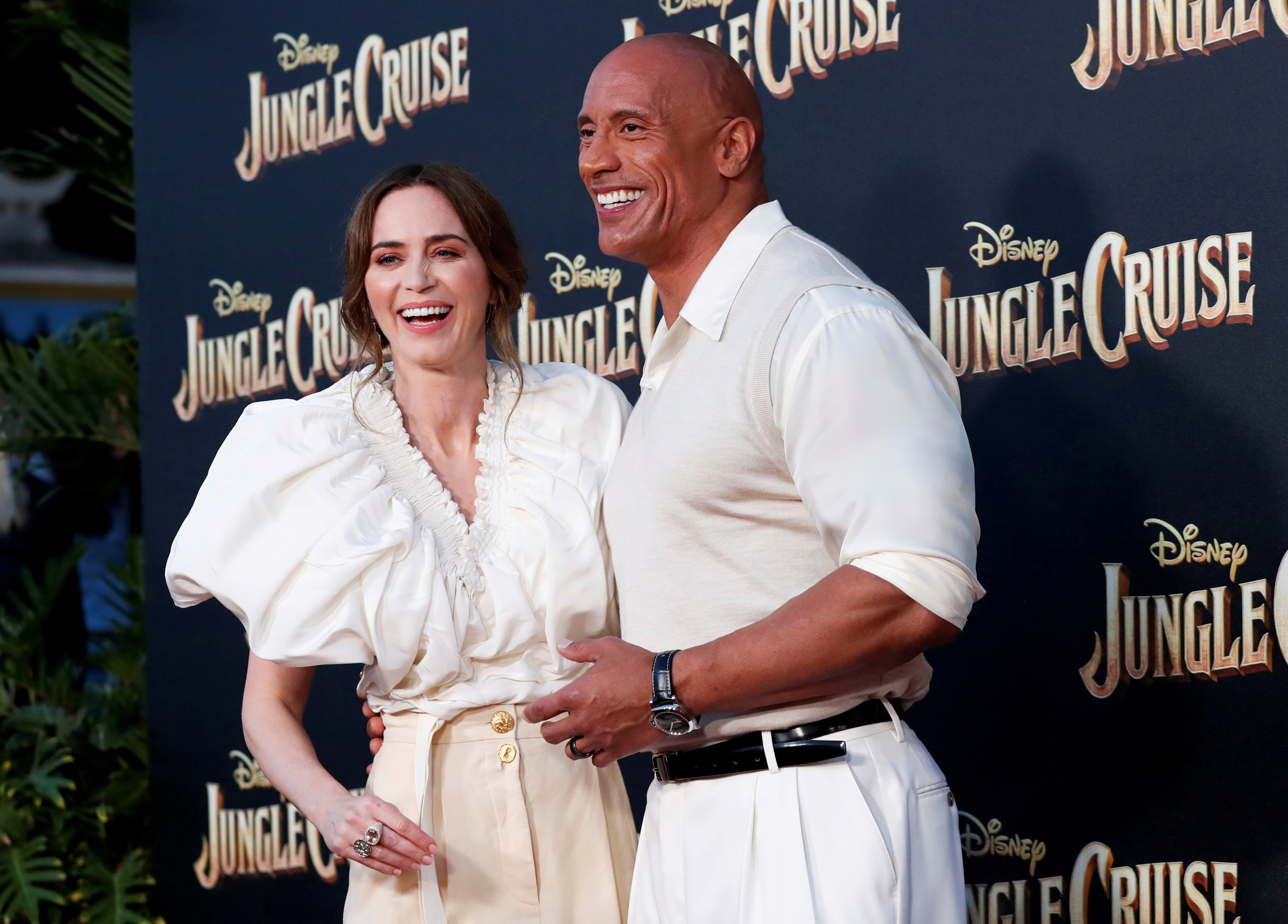 Cast members Dwayne Johnson and Emily Blunt attend the premiere for the film