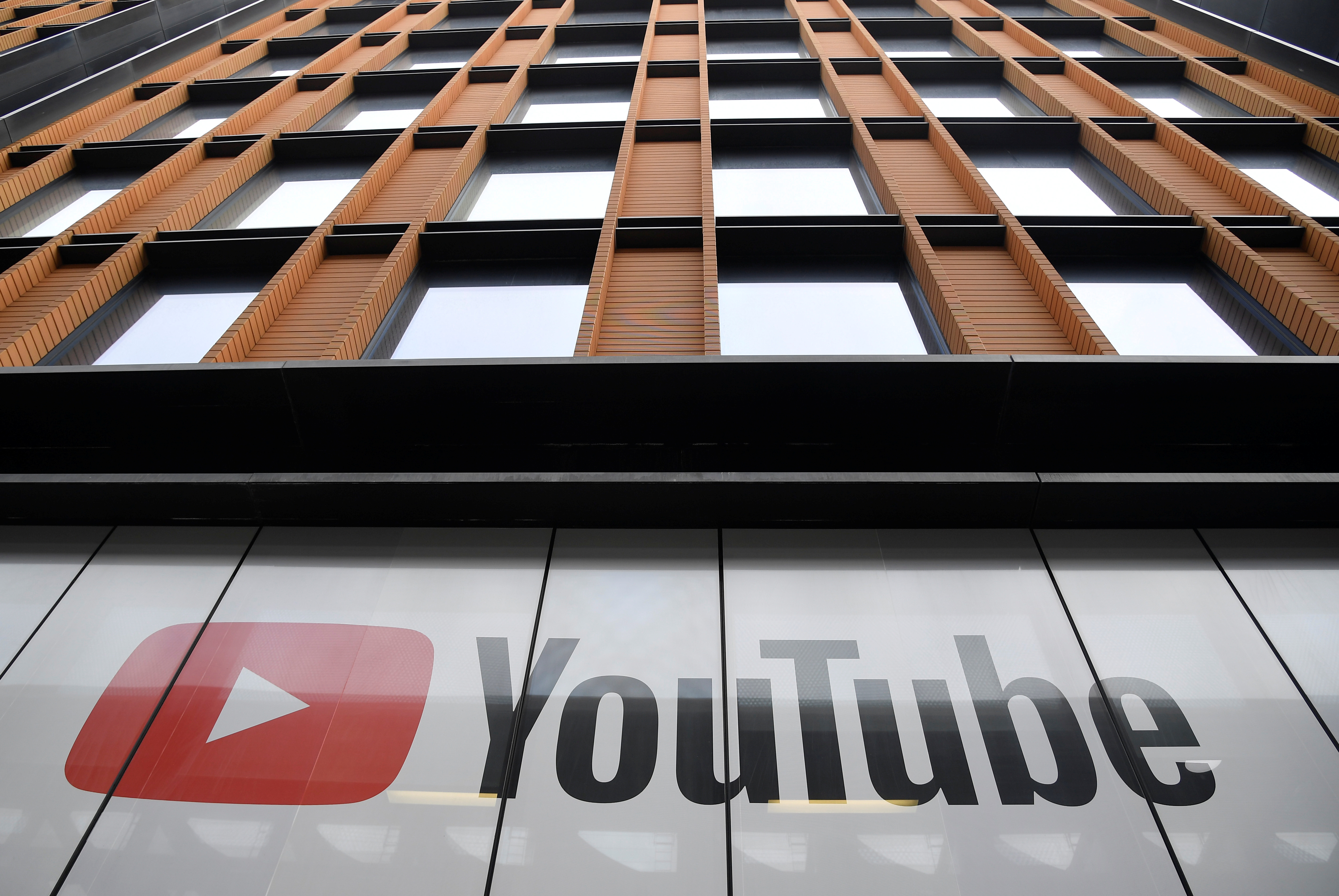 YouTube signage is seen at their offices in King's Cross, London, Britain, September 11, 2020. REUTERS/Toby Melville