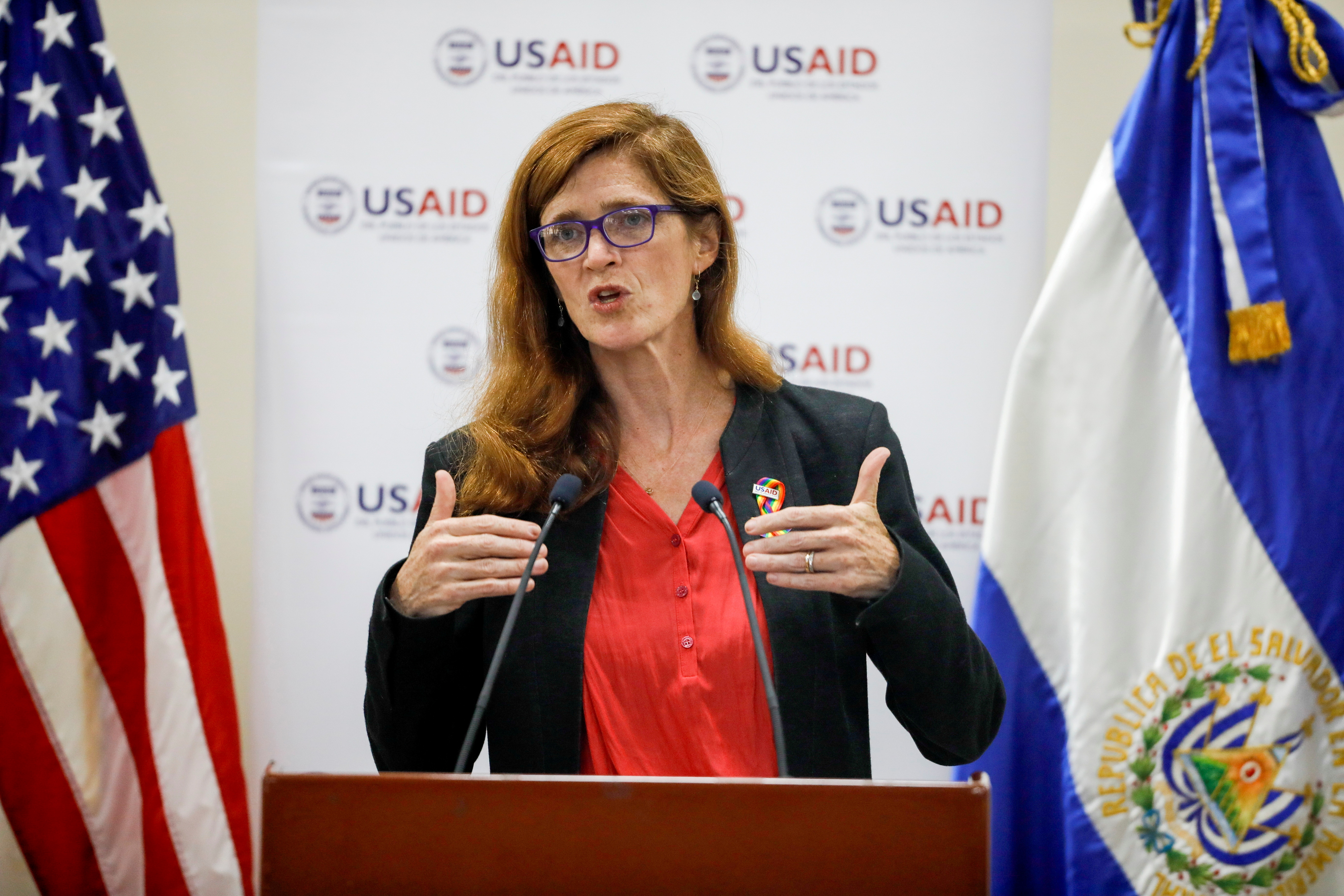 Samantha Power, administrator of the United States Agency for International Development, delivers a speech during a visit to El Salvador at the Central American University in San Salvador, El Salvador June 14, 2021. REUTERS/Jose Cabezas/File Photo