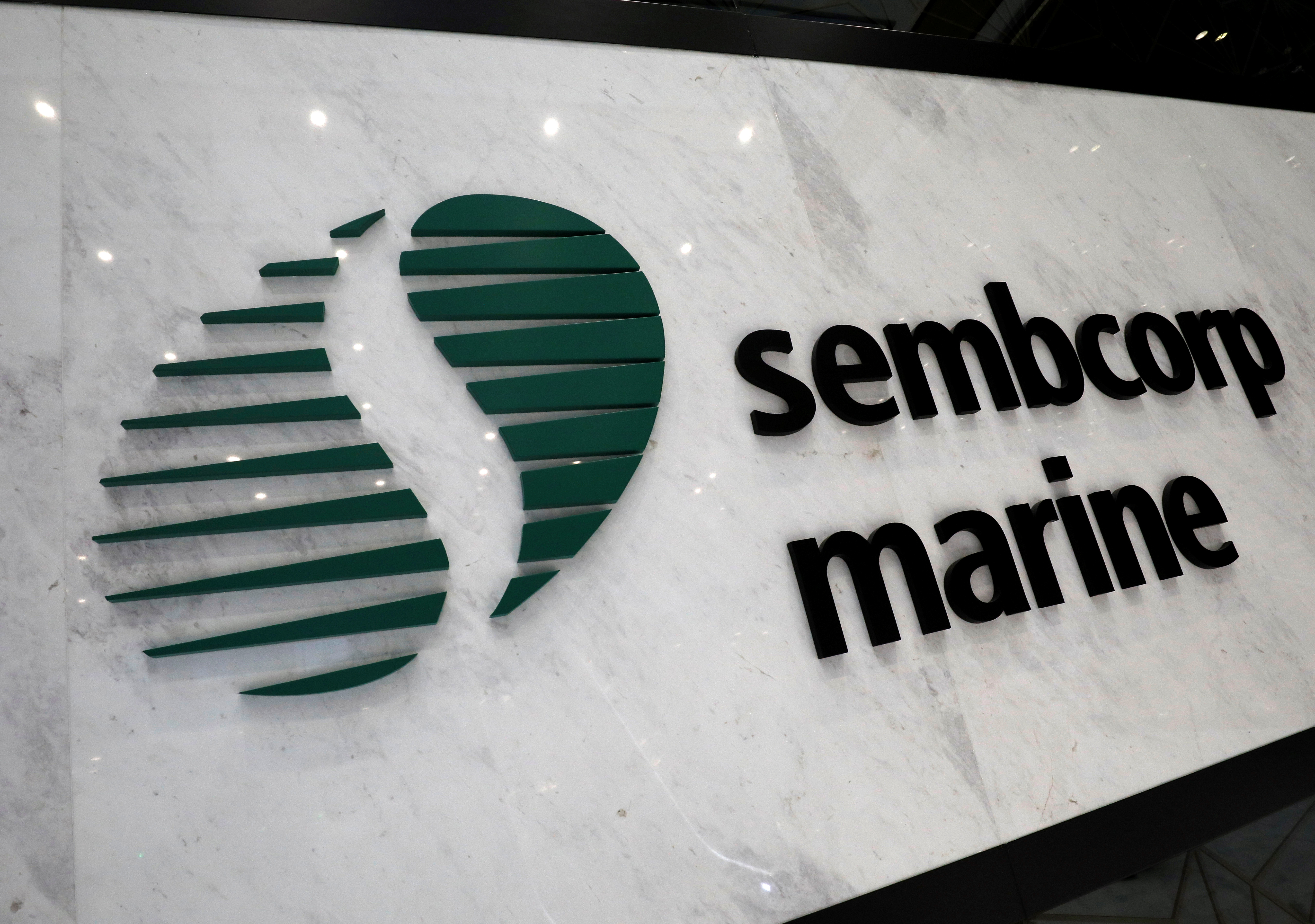 The Sembcorp Marine sign is pictured at the shipyard in Singapore, May 23, 2019. REUTERS/Edgar Su