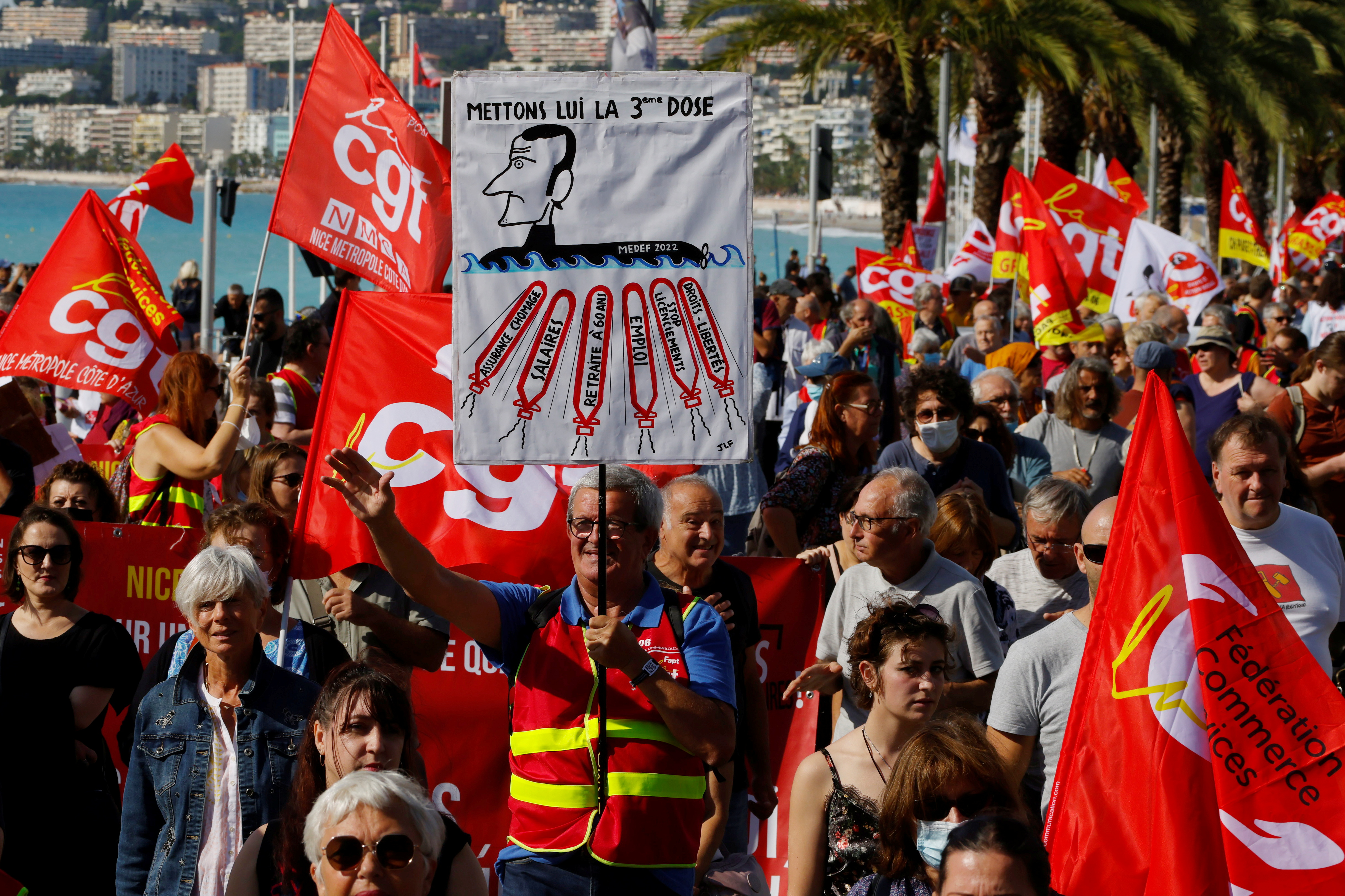 CGT labour union members attend a demonstration in Nice as part of a day of strikes and protests against French government's economic and social policies, France, October 5, 2021.   REUTERS/Eric Gaillard