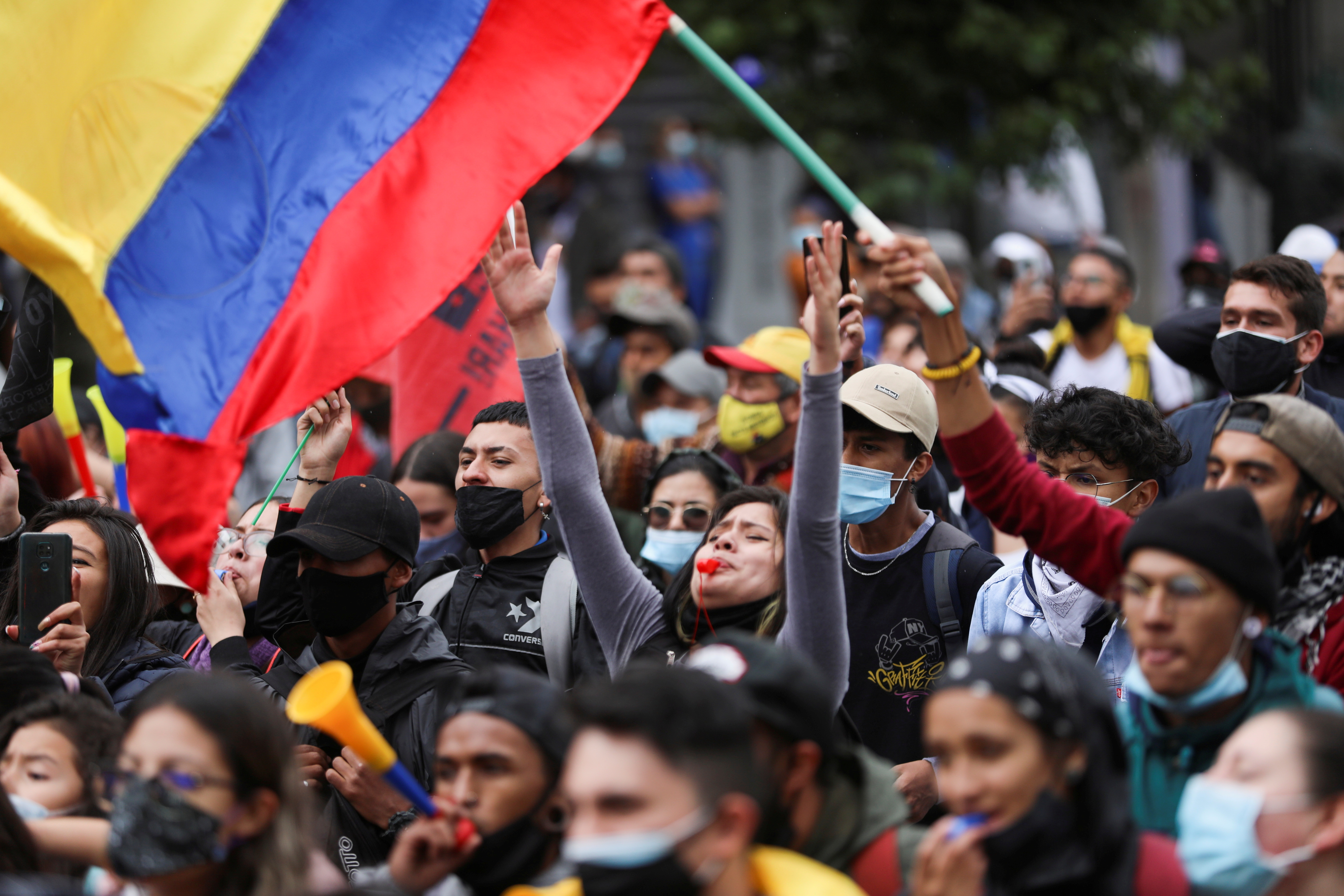 Demonstrators take part in a protest against the tax reform of President Ivan Duque's government in Bogota, Colombia, April 29, 2021. REUTERS/Luisa Gonzalez/File Photo