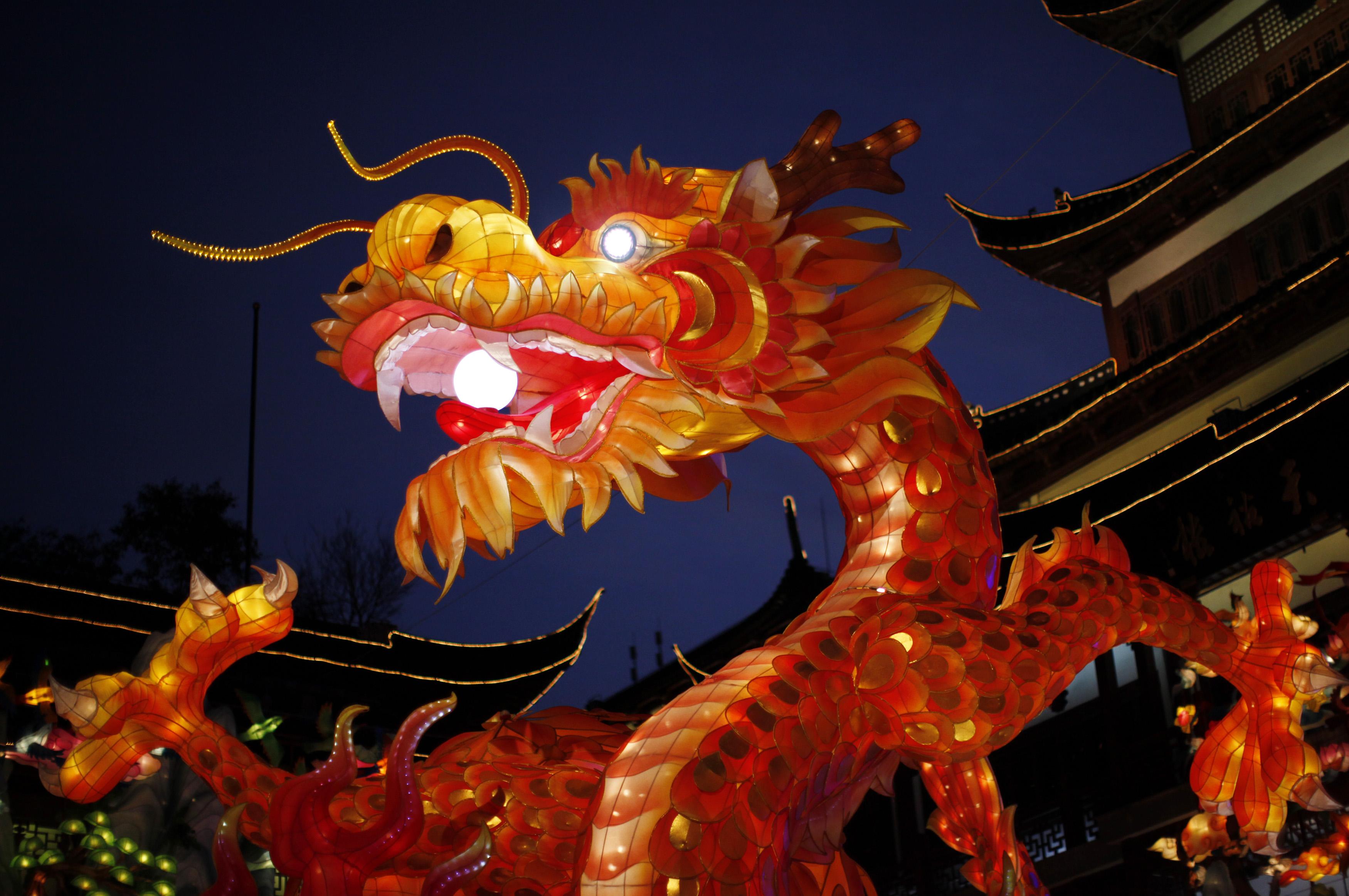 A dragon lantern is seen at Yuyuan Garden in downtown Shanghai January 17, 2012. REUTERS/Carlos Barria