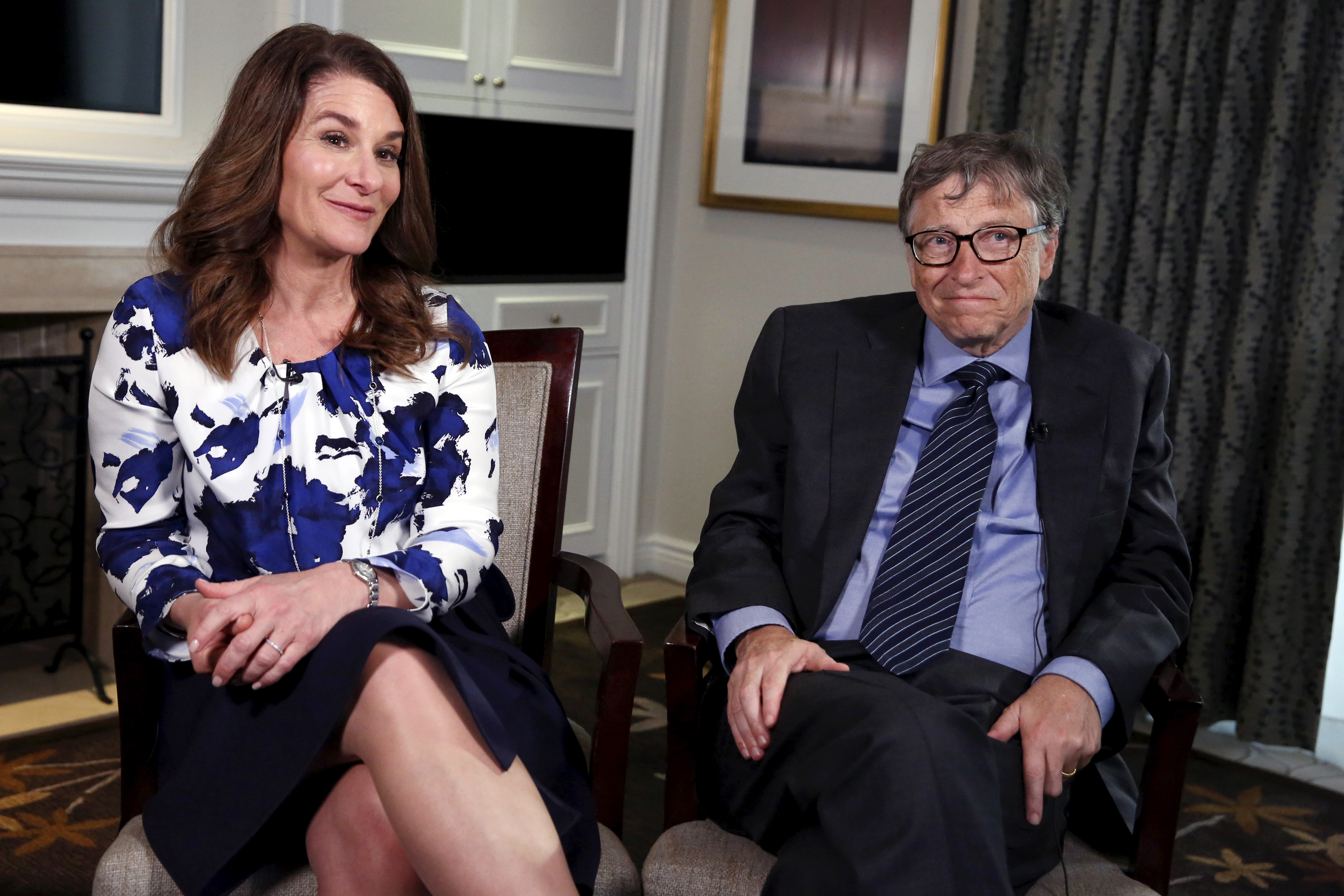 Microsoft co-founder Bill Gates and his wife Melinda sit during an interview in New York February 22, 2016.  REUTERS/Shannon Stapleton/File Photo