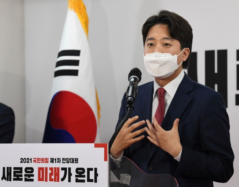 Lee Jun-Seok, new chairman of the main opposition People Power Party (PPP) speaks after elected for leadership race at party headquarters in Seoul, South Korea, June 11, 2021. Kim Min-Hee/Pool via REUTERS