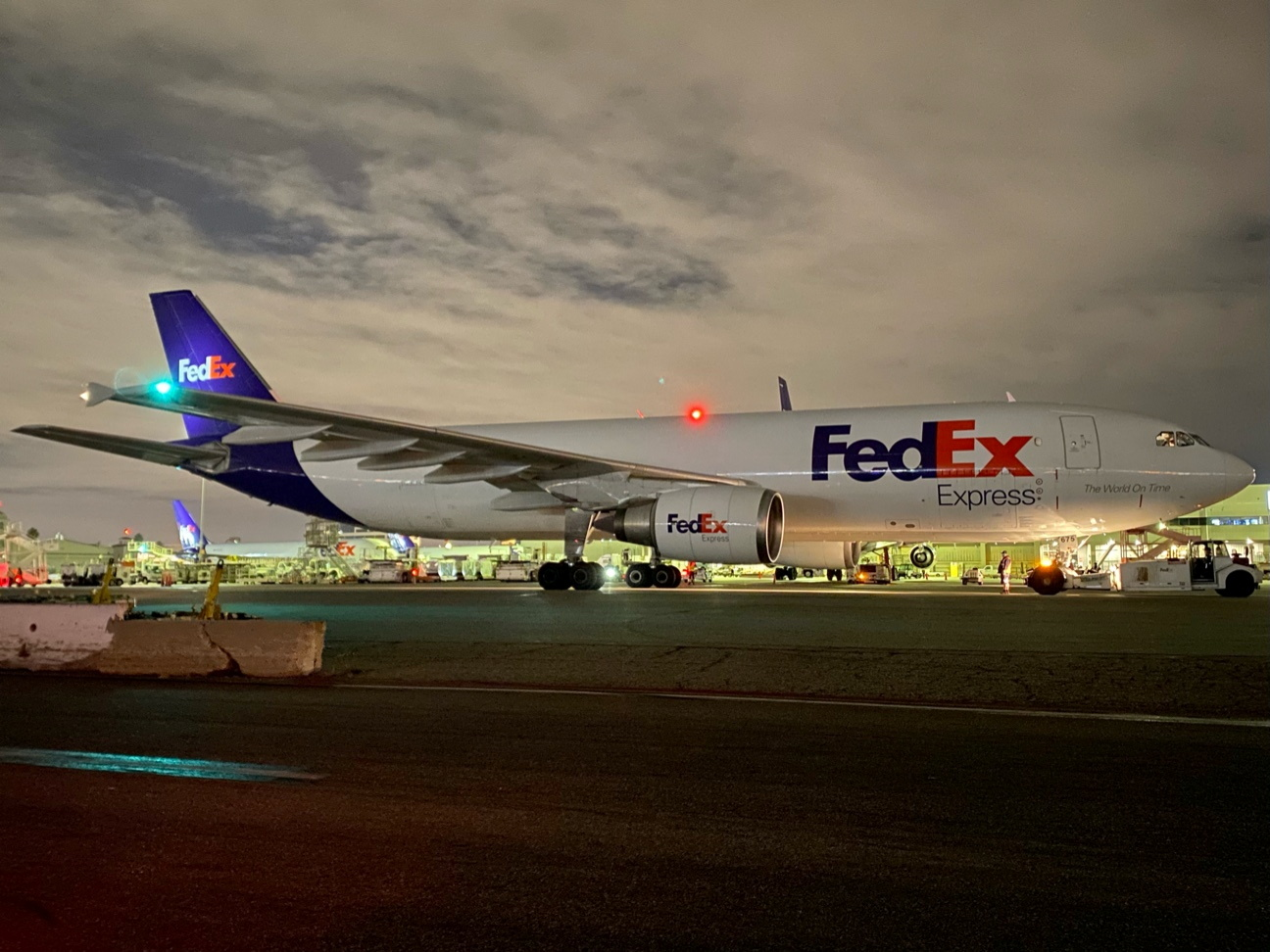 A plane of FedEx Express carrying a first batch of Pfizer/BioNTEch COVID-19 vaccine is seen at LAX Airport, following the outbreak of the coronavirus disease (COVID-19), in Los Angeles, California, U.S., December 13, 2020, in this photo obtained from social media. Los Angeles World Airports/via REUTERS