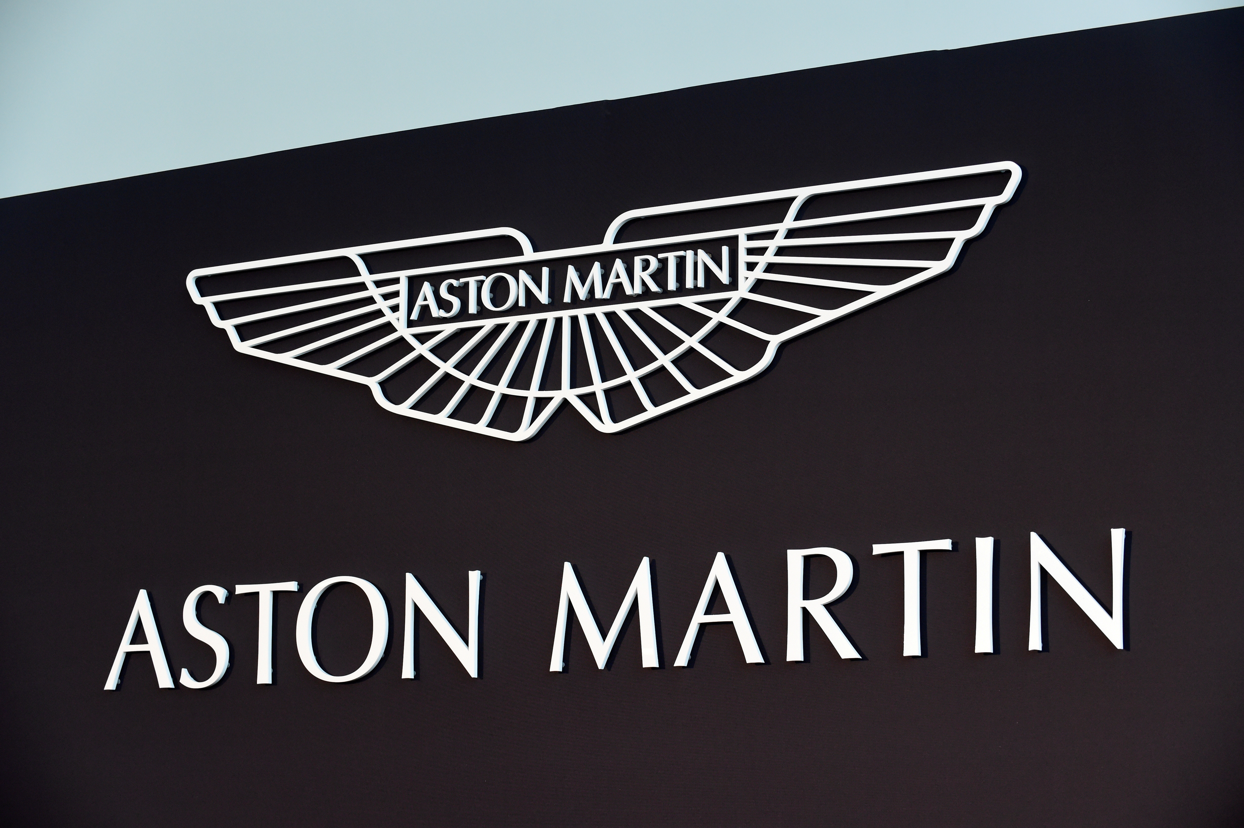 An Aston Martin logo is pictured at the company's factory in Saint Athan, Wales, Britain December 6, 2019.   REUTERS/Rebecca Naden